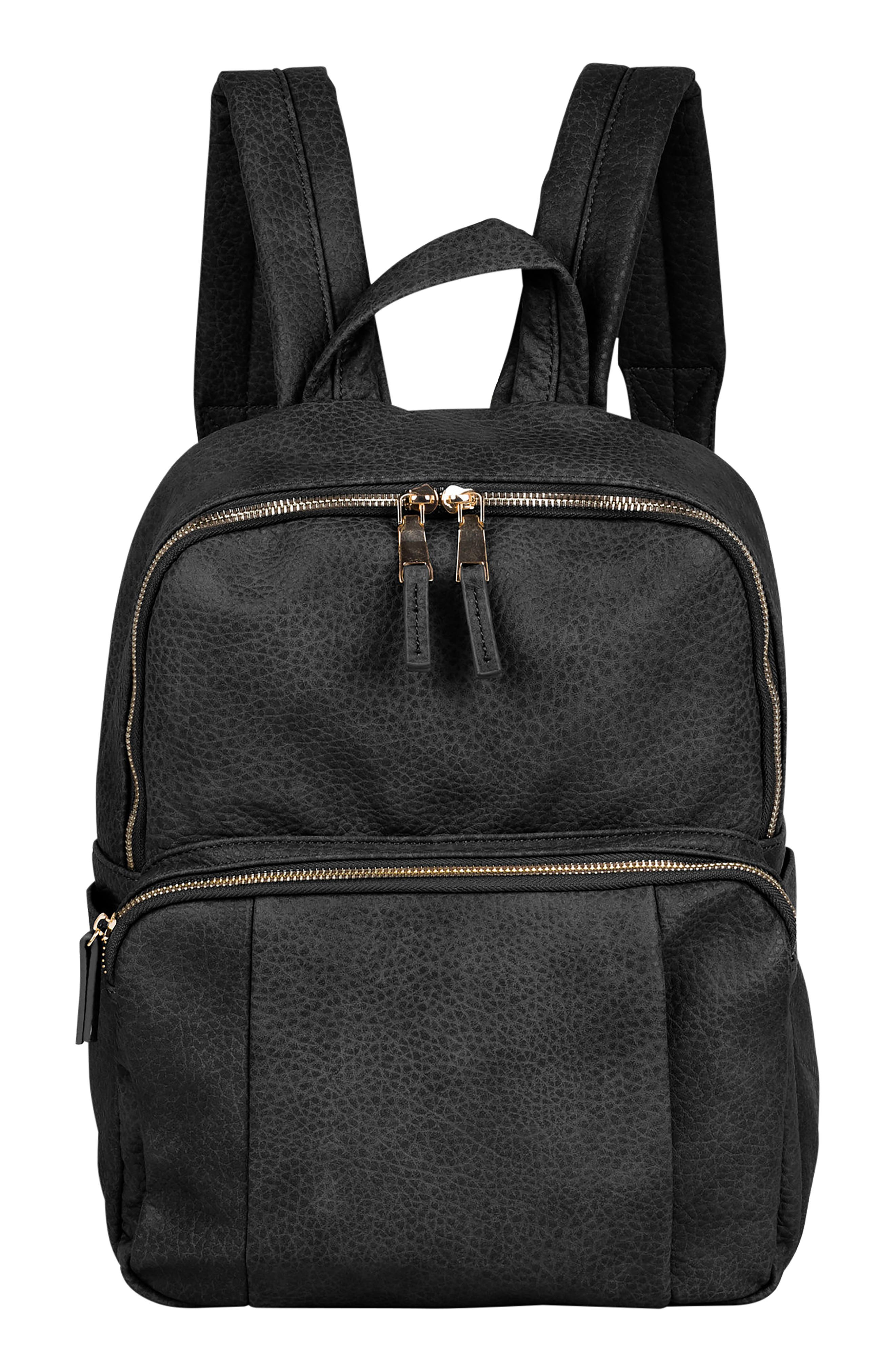 URBAN ORIGINALS,                             Bold Move Vegan Leather Laptop Backpack,                             Main thumbnail 1, color,                             BLACK
