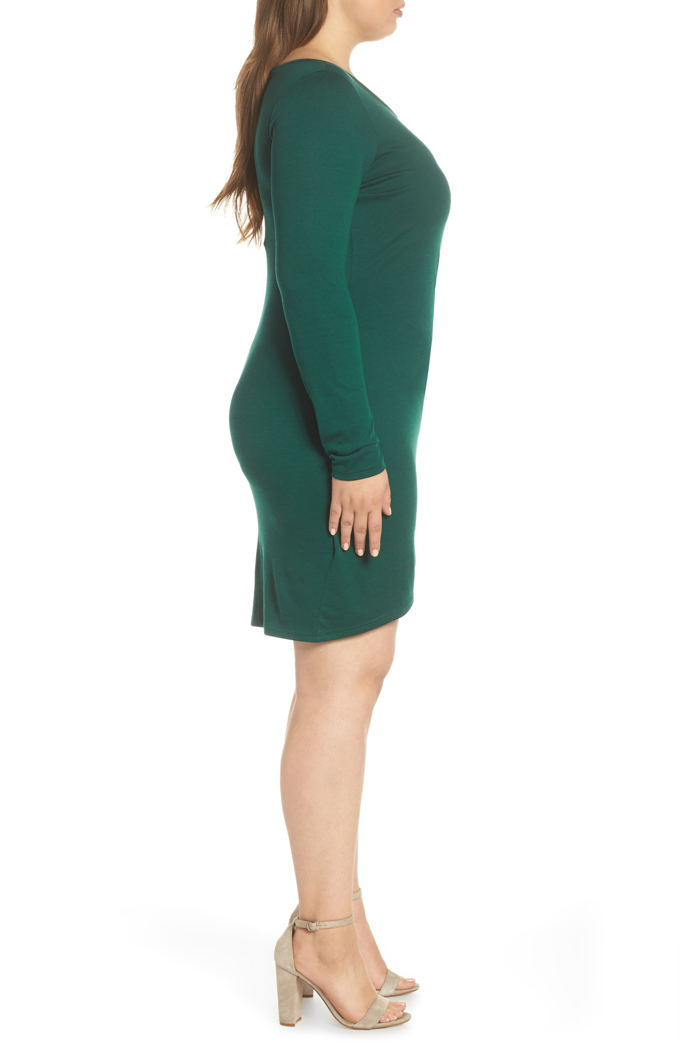 Ruched Body-Con Dress,                             Alternate thumbnail 3, color,                             GREEN BOTANICAL