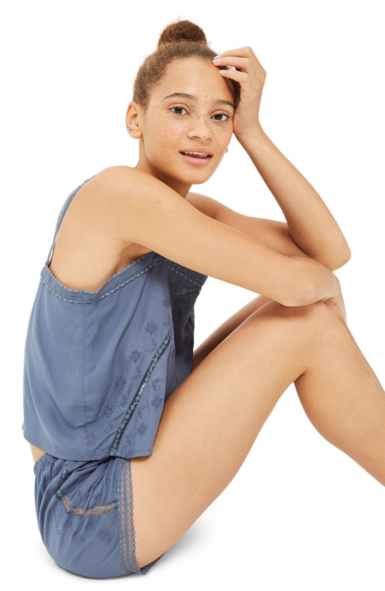 Slate Broderie Camisole & Sleep Shorts,                             Alternate thumbnail 4, color,                             020
