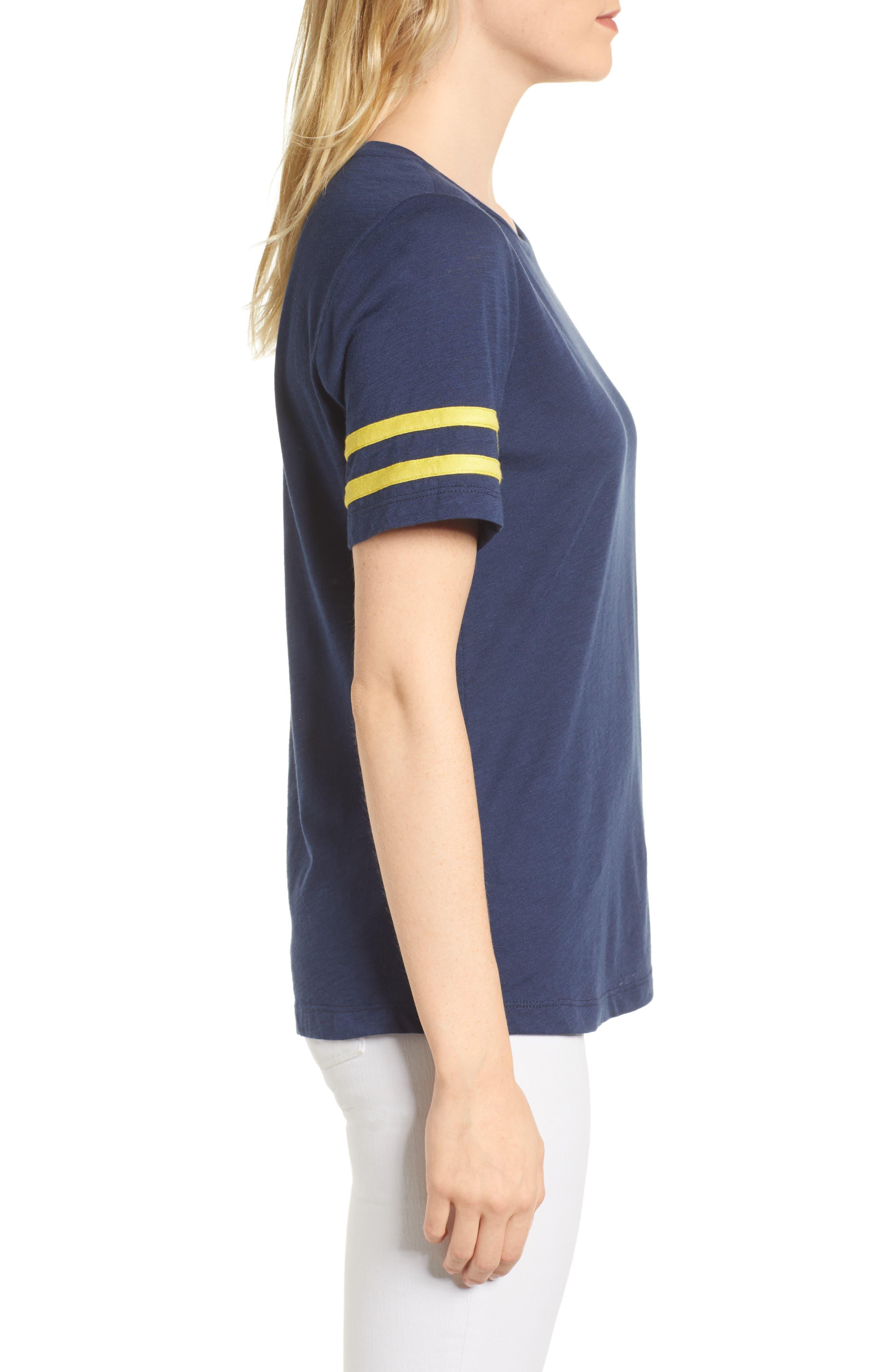 Stripe Sleeve Cotton Blend Athletic Tee,                             Alternate thumbnail 12, color,