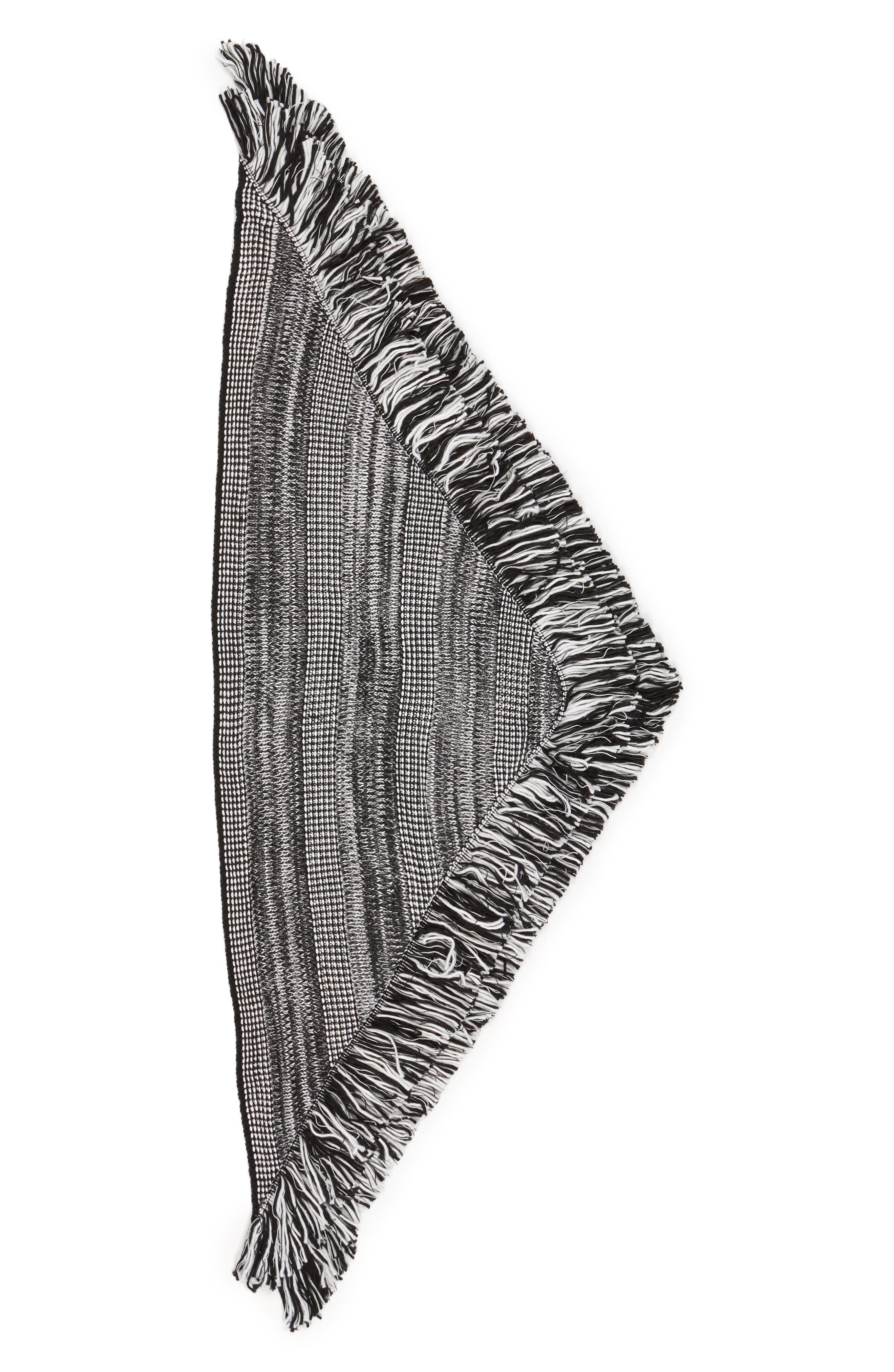 Mouline Fringe Triangle Scarf,                             Alternate thumbnail 2, color,                             001