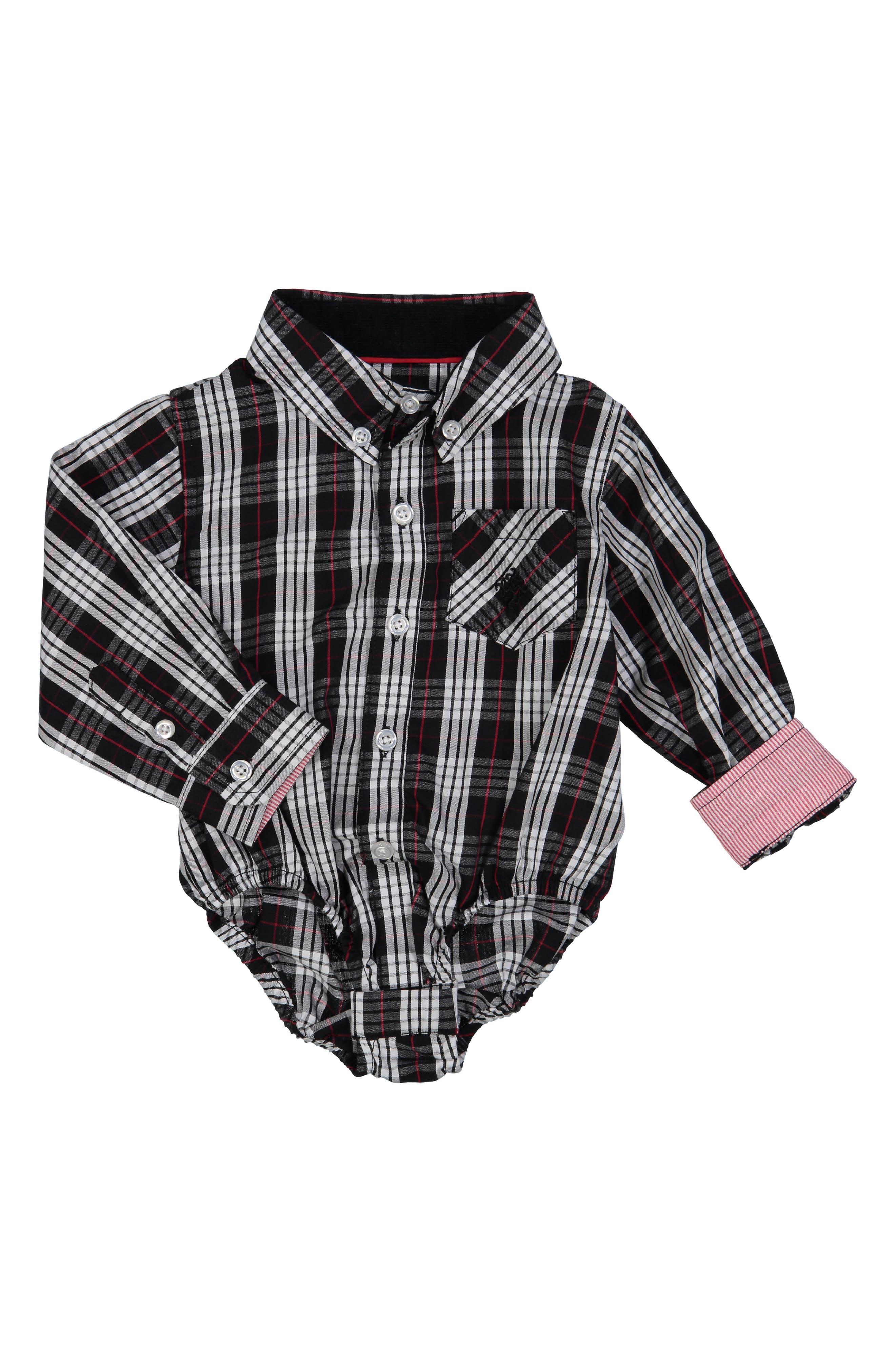 Shirtzie Holiday Check Bodysuit,                             Main thumbnail 1, color,                             002