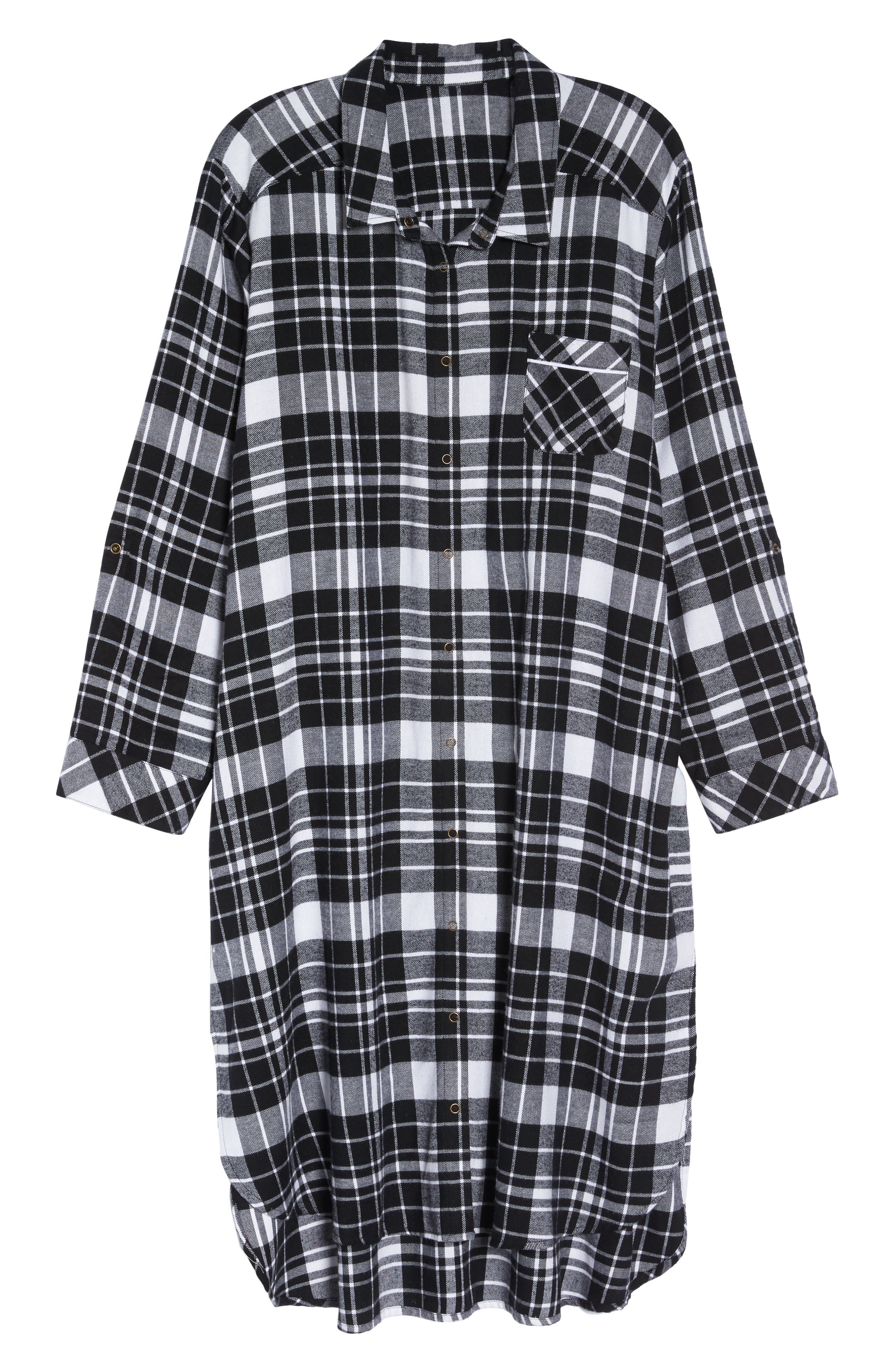 Long Flannel Nightshirt,                             Alternate thumbnail 6, color,                             001