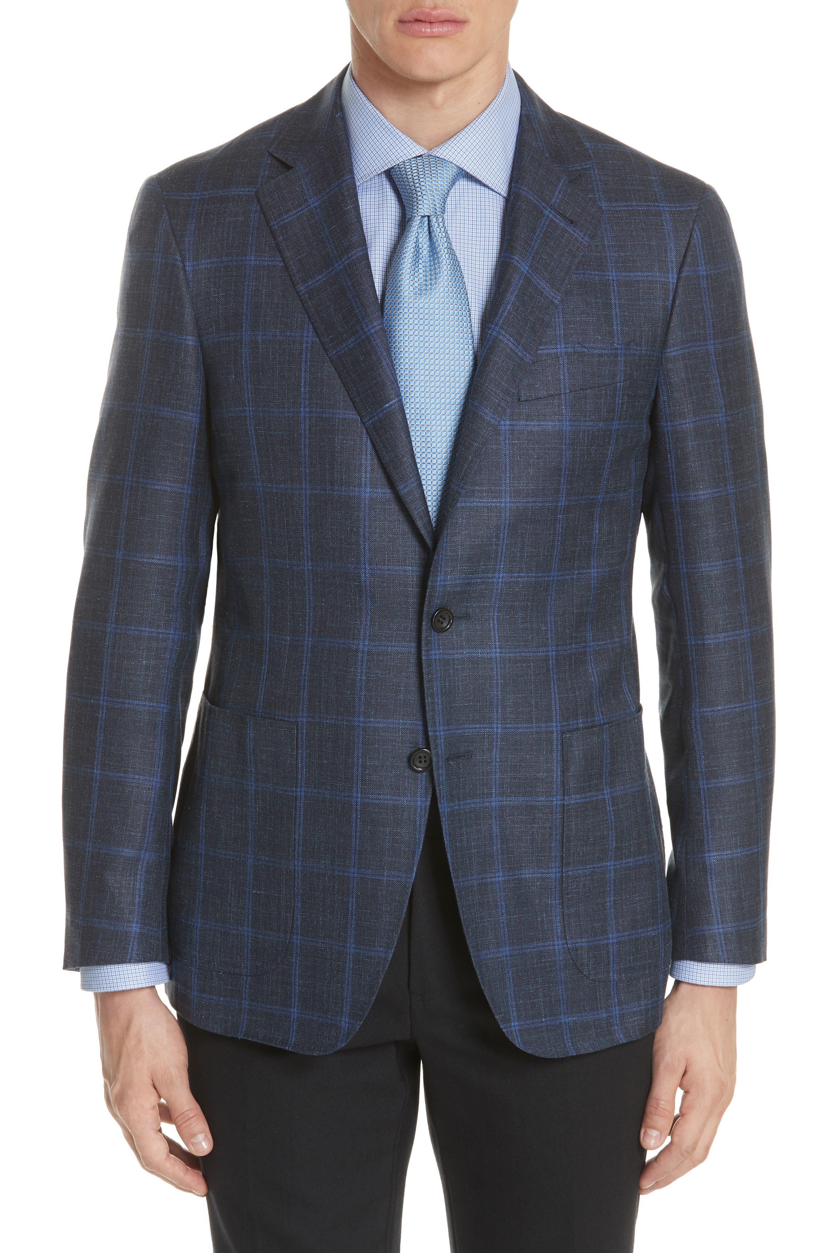 Classic Fit Wool Blend Windowpane Sport Coat,                             Main thumbnail 1, color,