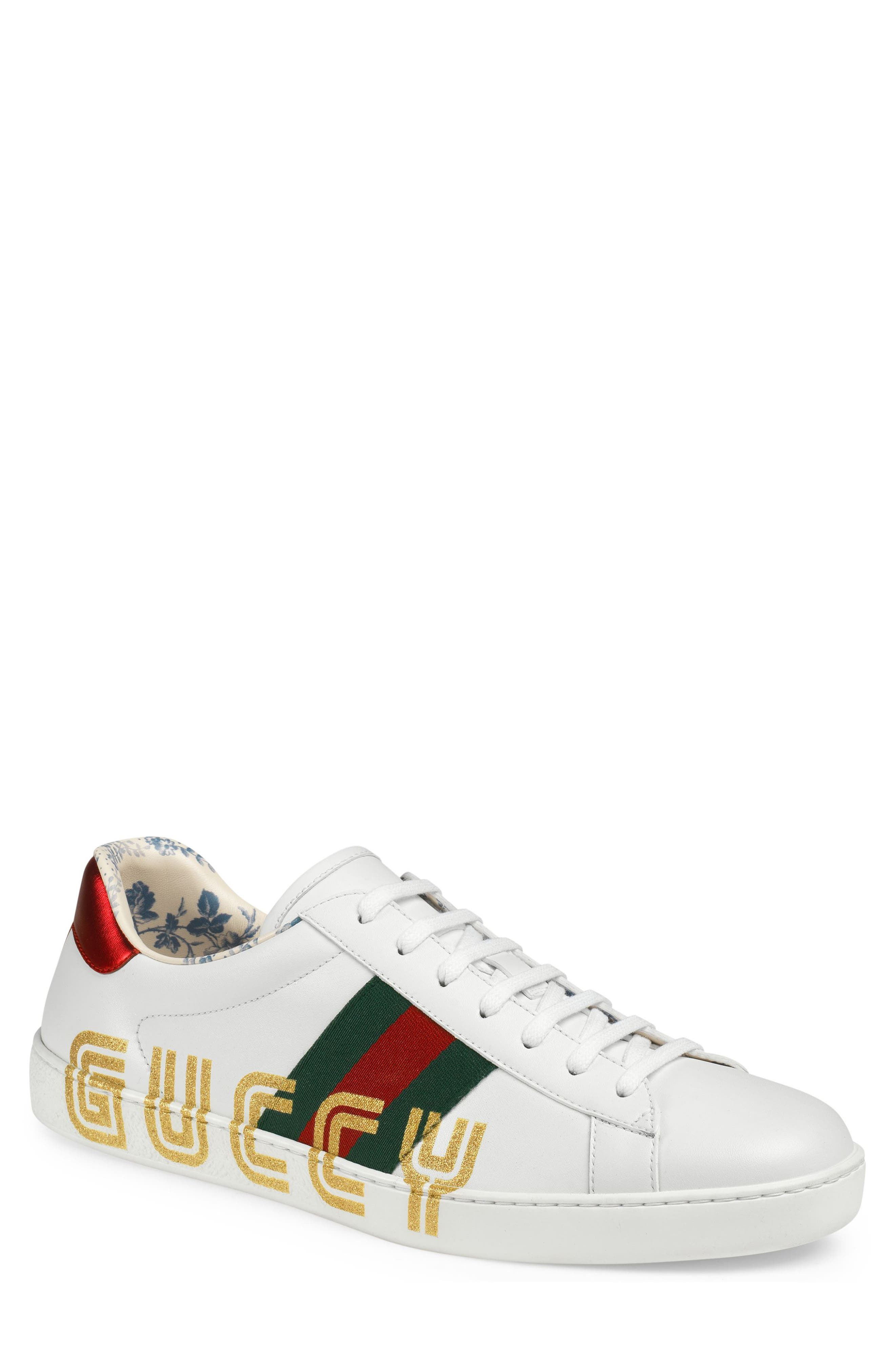 New Ace Guccy Print Sneaker, Main, color, WHITE/ RED FLAME