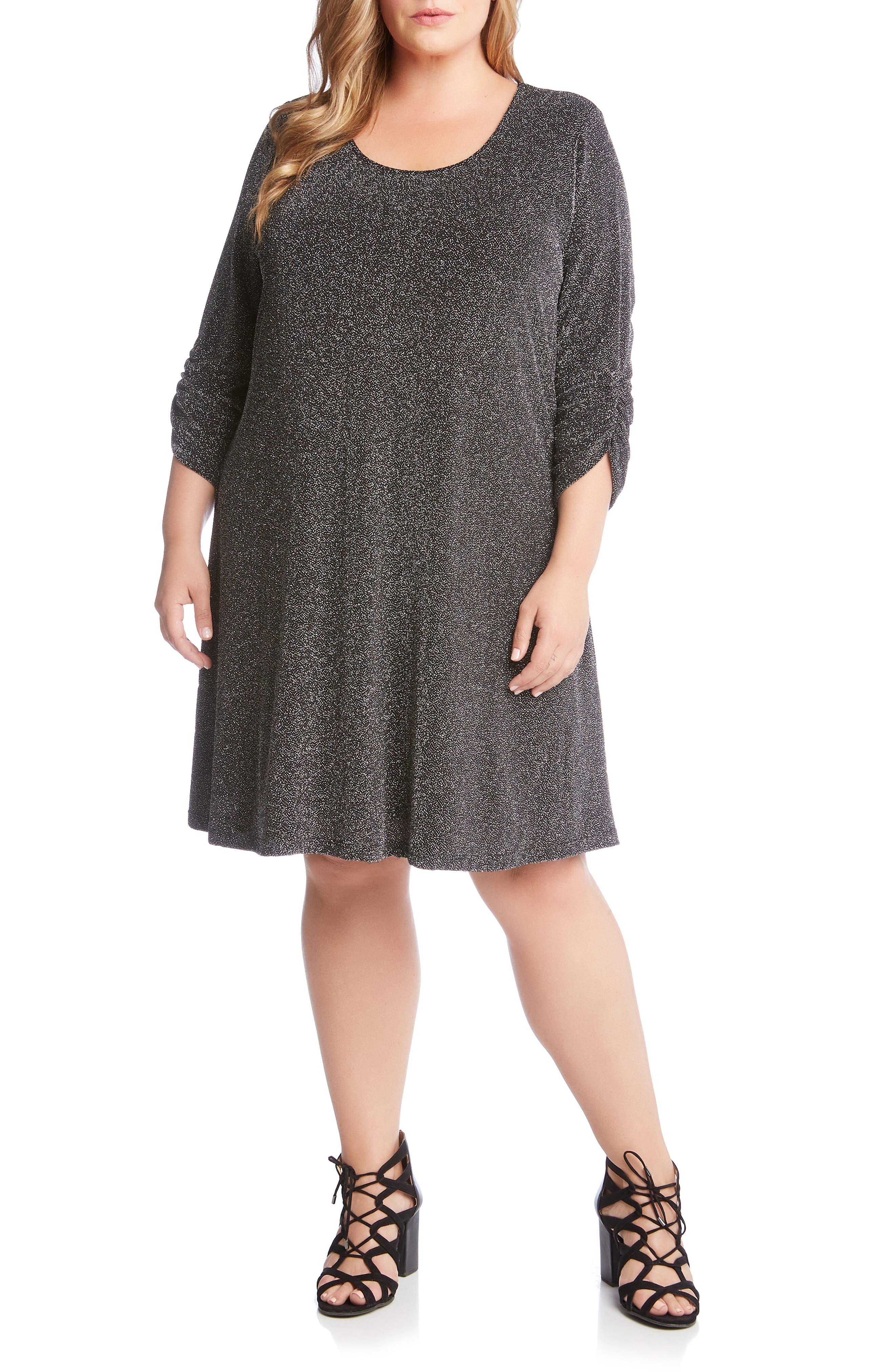 Plus Size Karen Kane Taylor Metallic A-Line Dress, Metallic