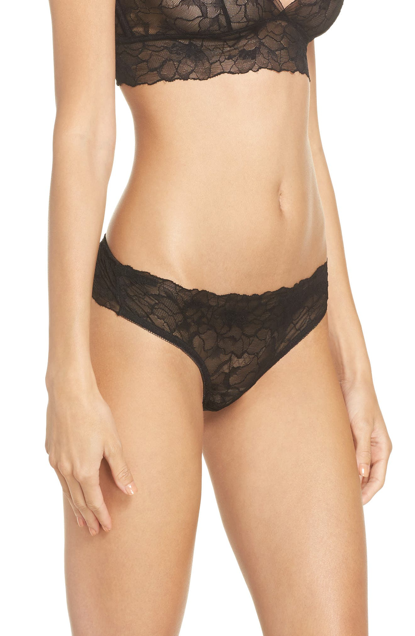 All Lace Glamour Lace Thong,                             Alternate thumbnail 3, color,                             BLACK