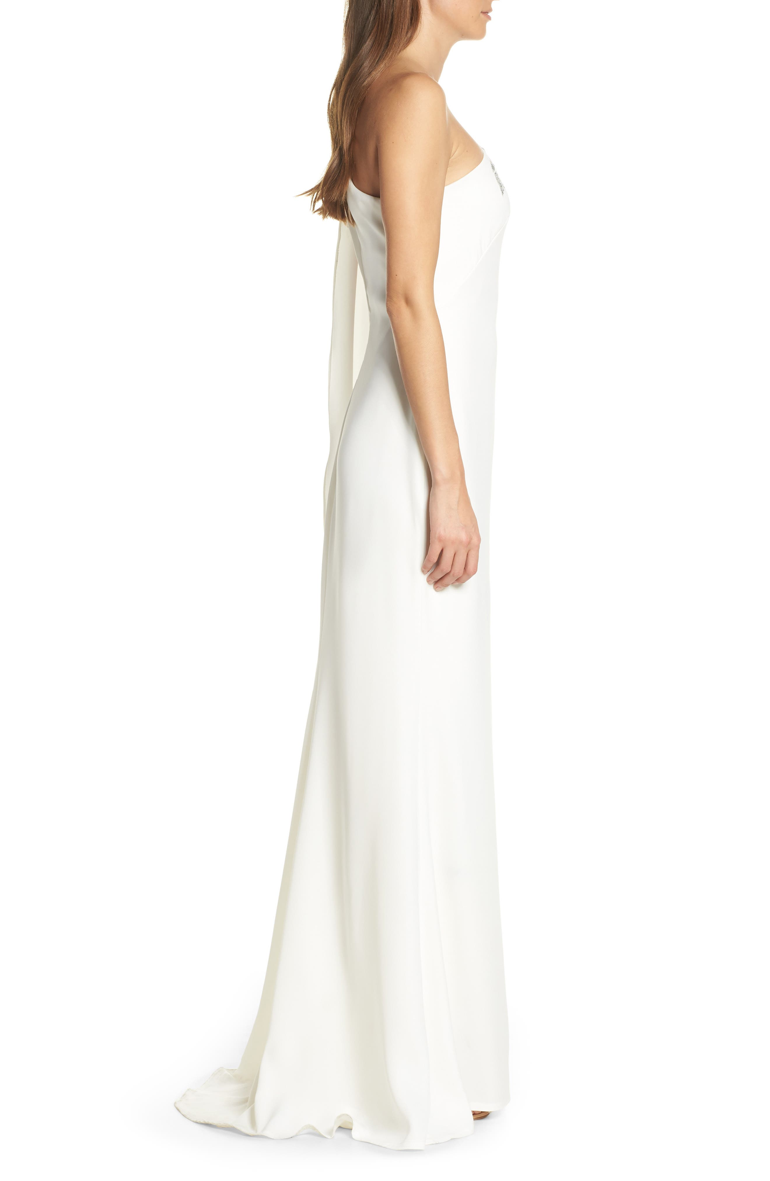 Cape Sleeve Crepe Evening Dress,                             Alternate thumbnail 3, color,                             IVORY/ SILVER