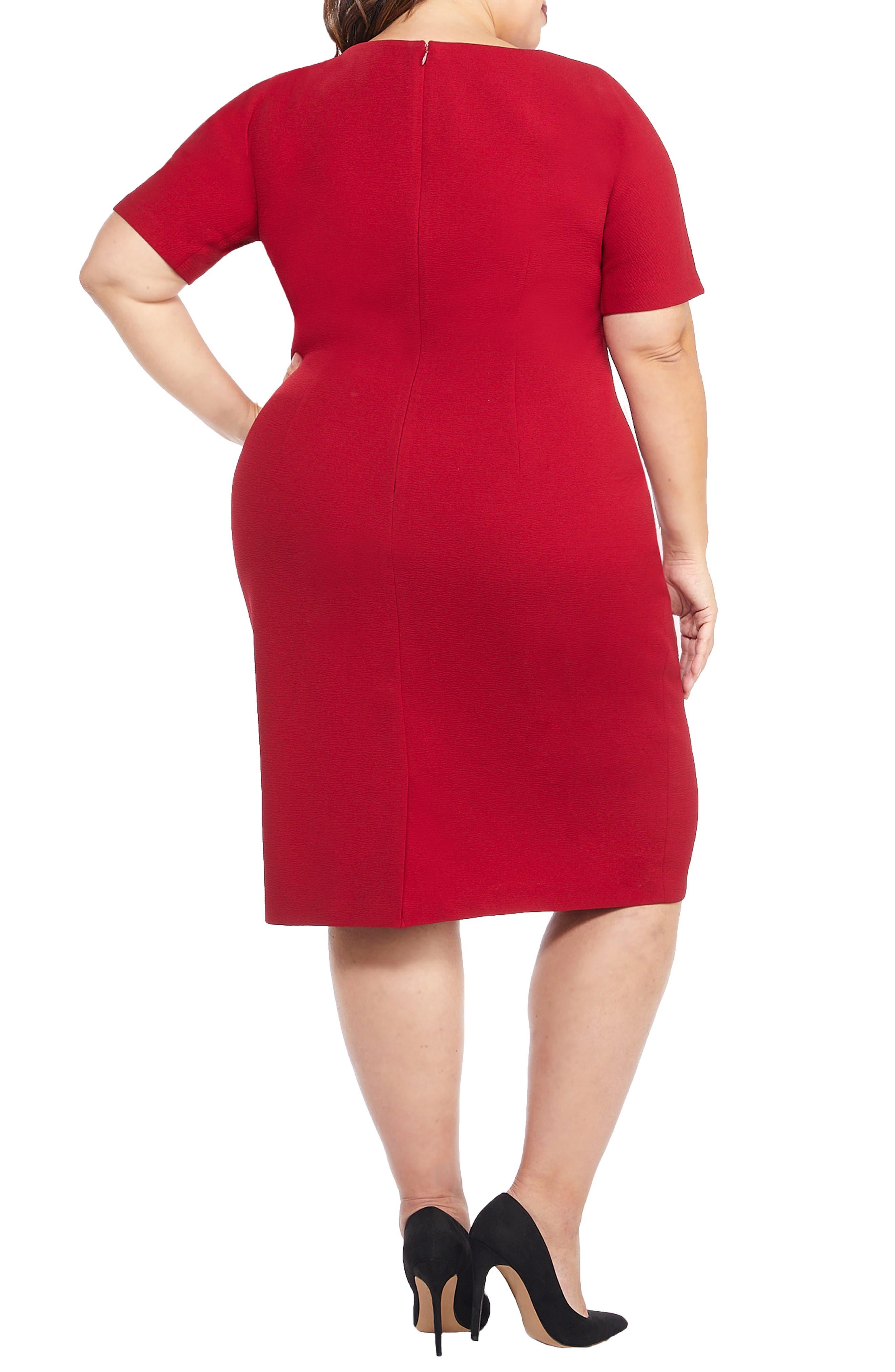 Metro Draped Side Sheath Dress,                             Alternate thumbnail 2, color,                             RED