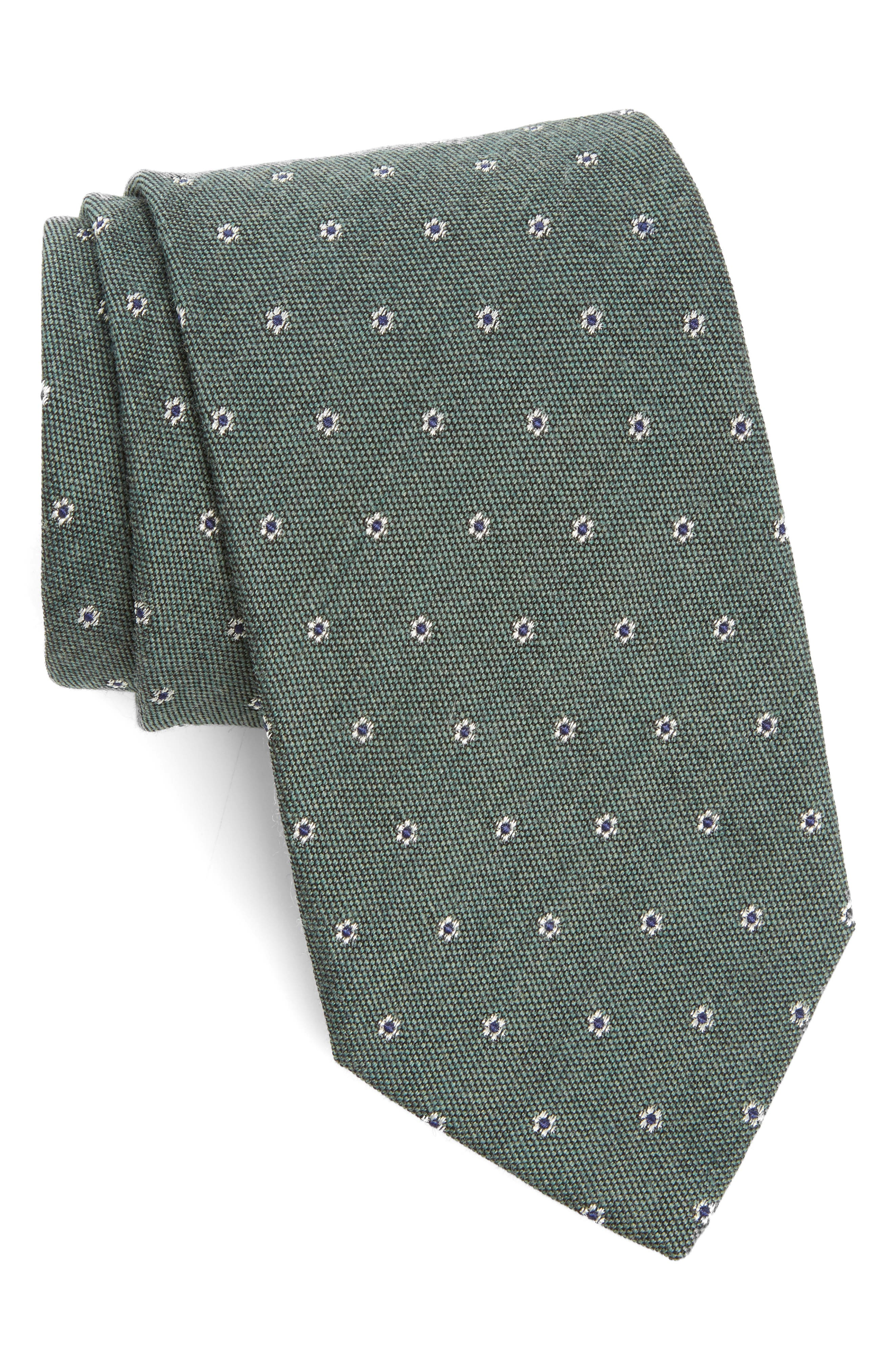 Heather Floral Silk & Wool Tie,                             Main thumbnail 2, color,