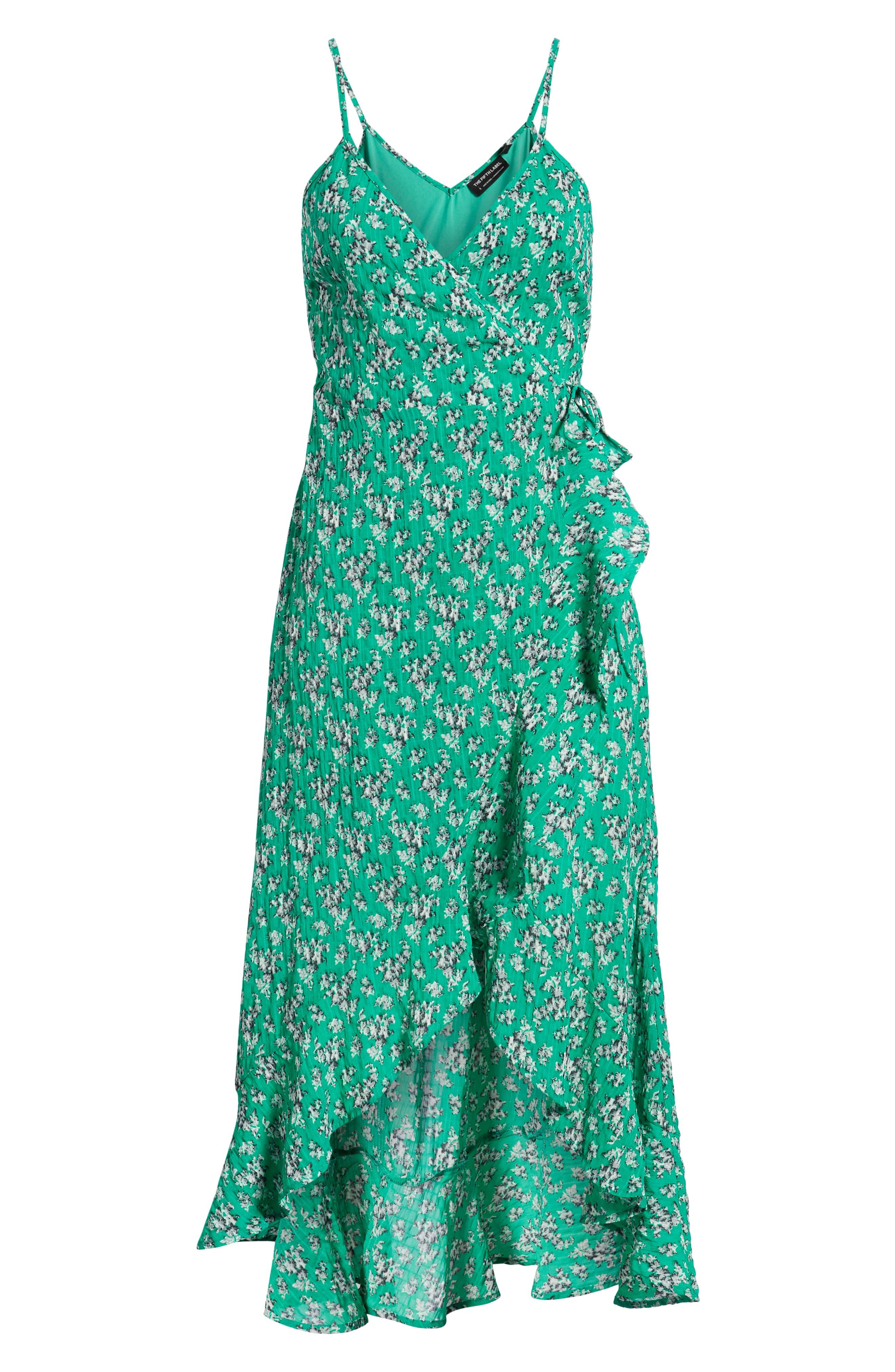 Adventurer Floral Print High/Low Dress,                             Alternate thumbnail 7, color,                             GREEN FLORAL