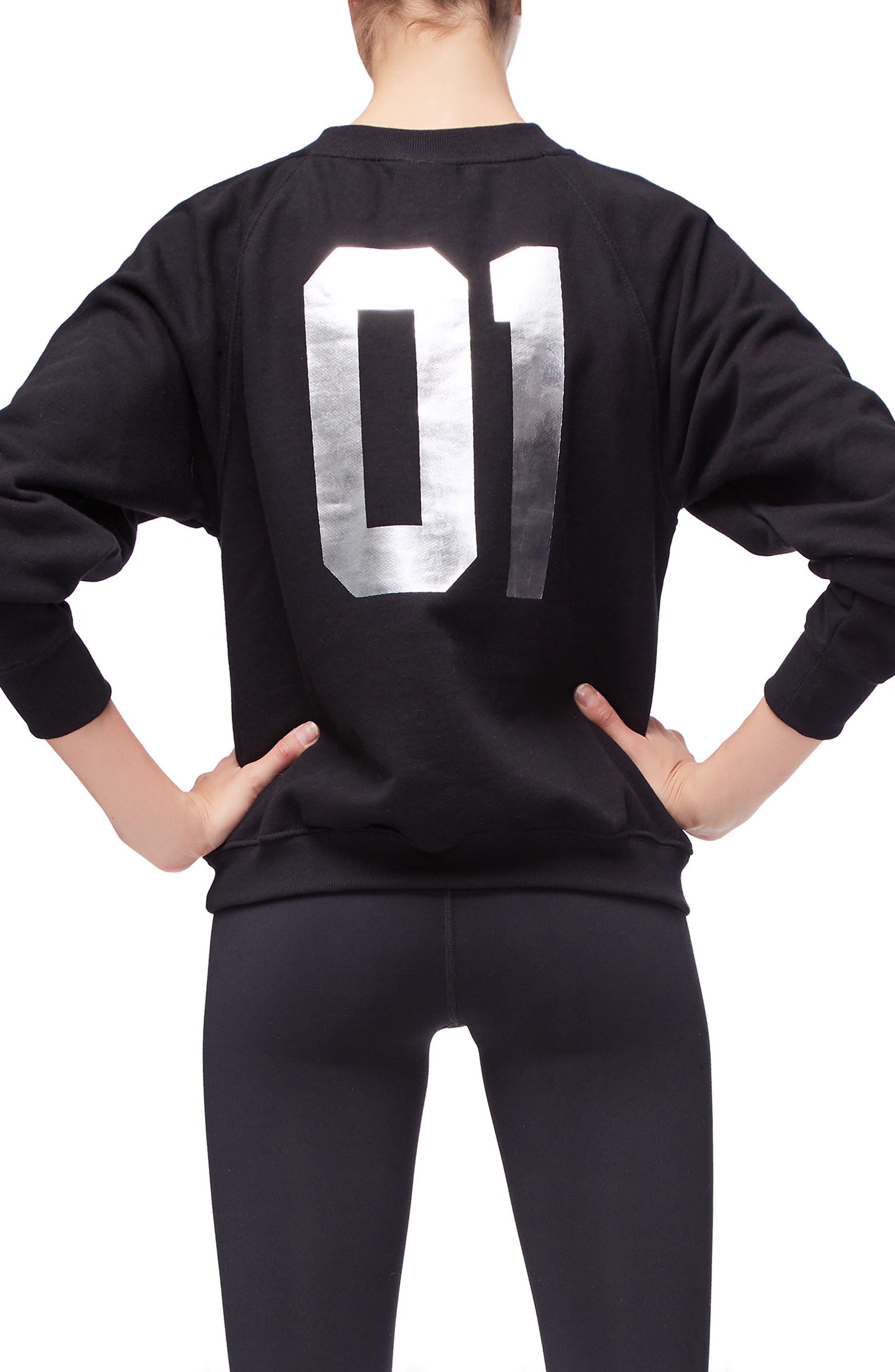 Goodies Varsity Sweatshirt,                             Alternate thumbnail 3, color,                             BLACK002