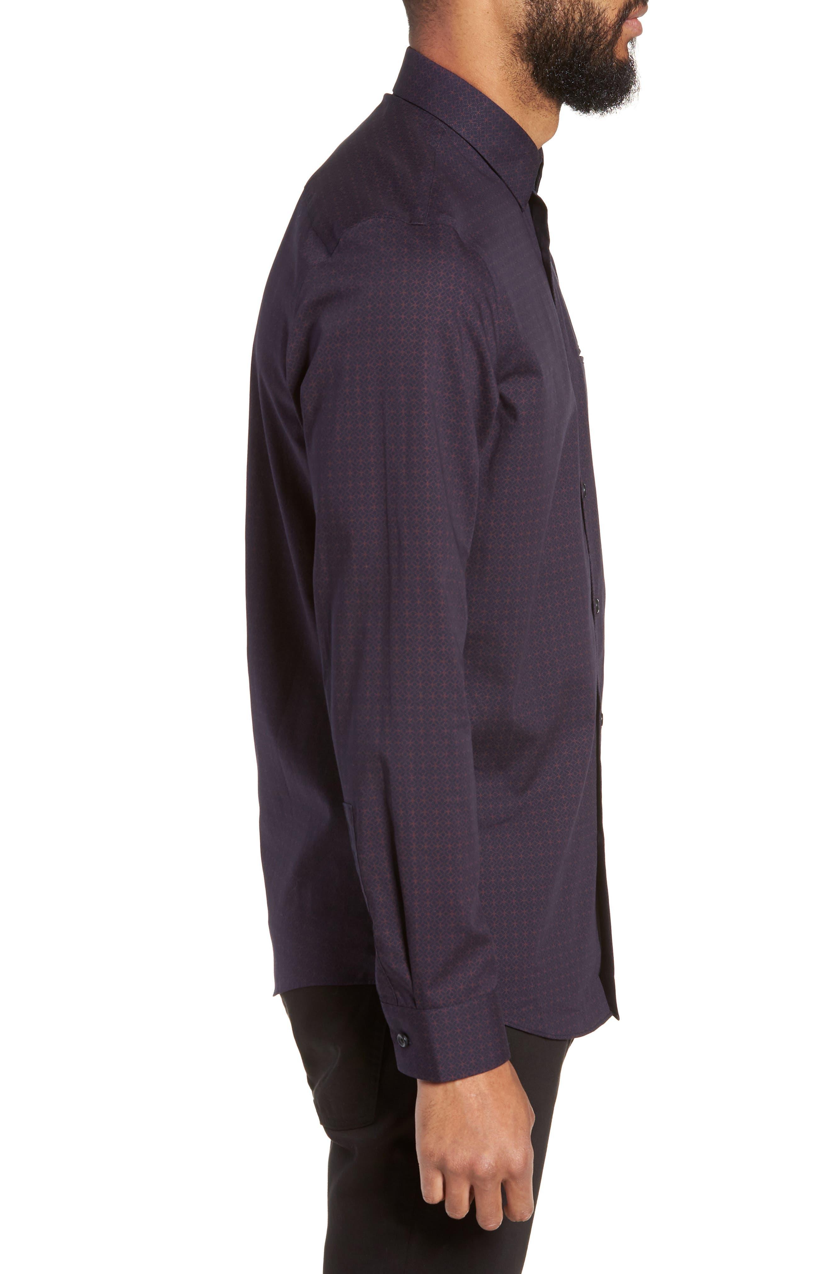 Slim Fit Print Non Iron Sport Shirt,                             Alternate thumbnail 3, color,                             NAVY NIGHT BURGUNDY GEO