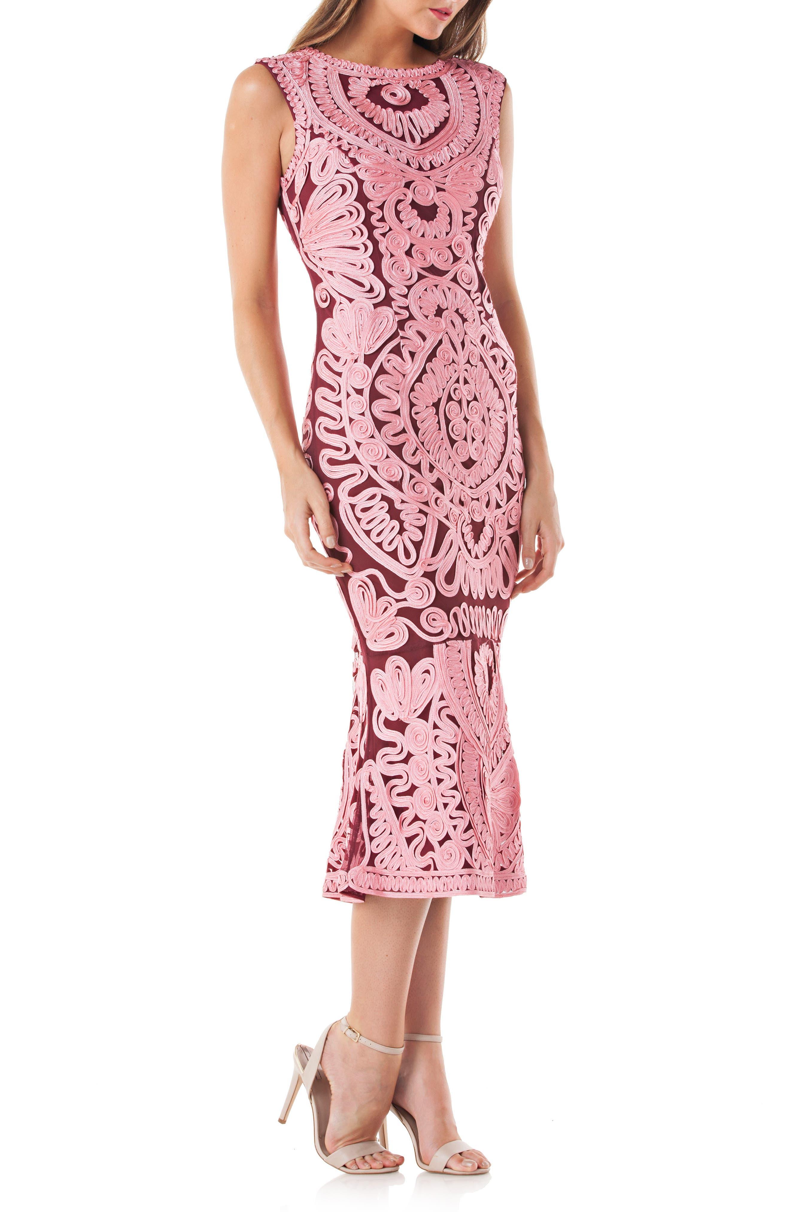 Soutache Mesh Dress,                         Main,                         color, PINK/ WINE