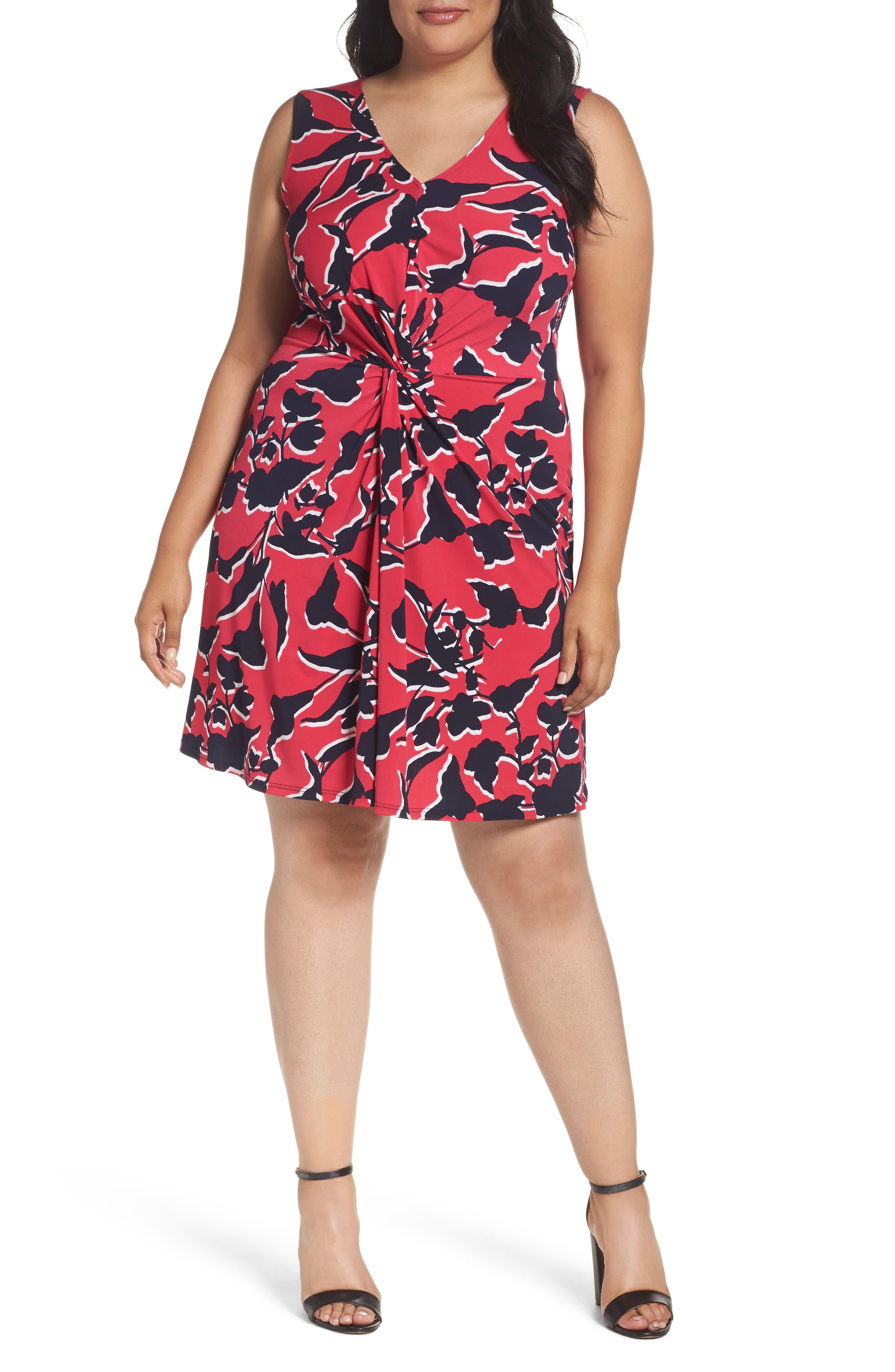 Plus Size Leota Twist Front Jersey Dress, Pink