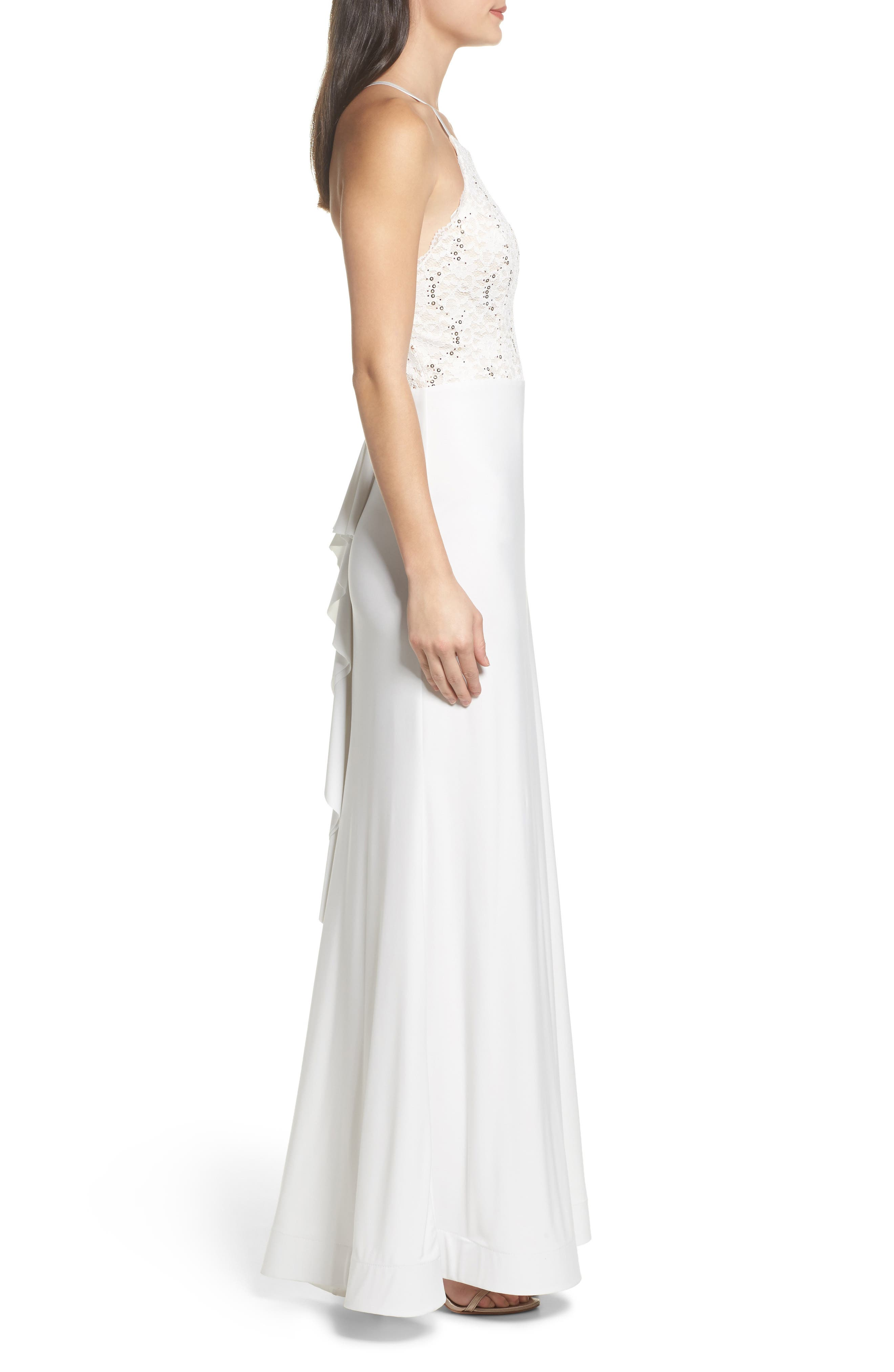 Ruffle Back Lace Gown,                             Alternate thumbnail 3, color,                             900