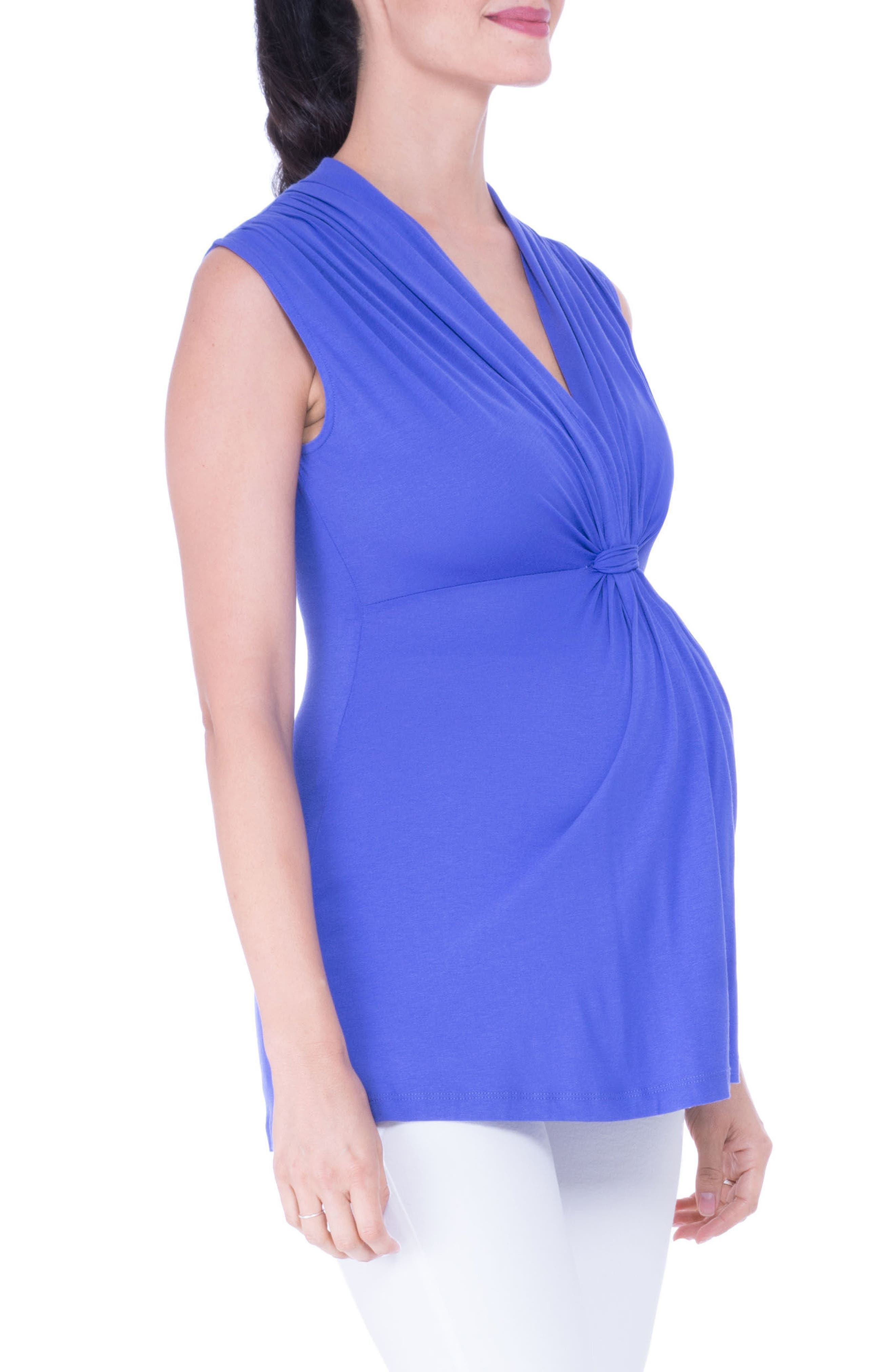 Knot Maternity Top,                             Alternate thumbnail 4, color,                             PERIWINKLE