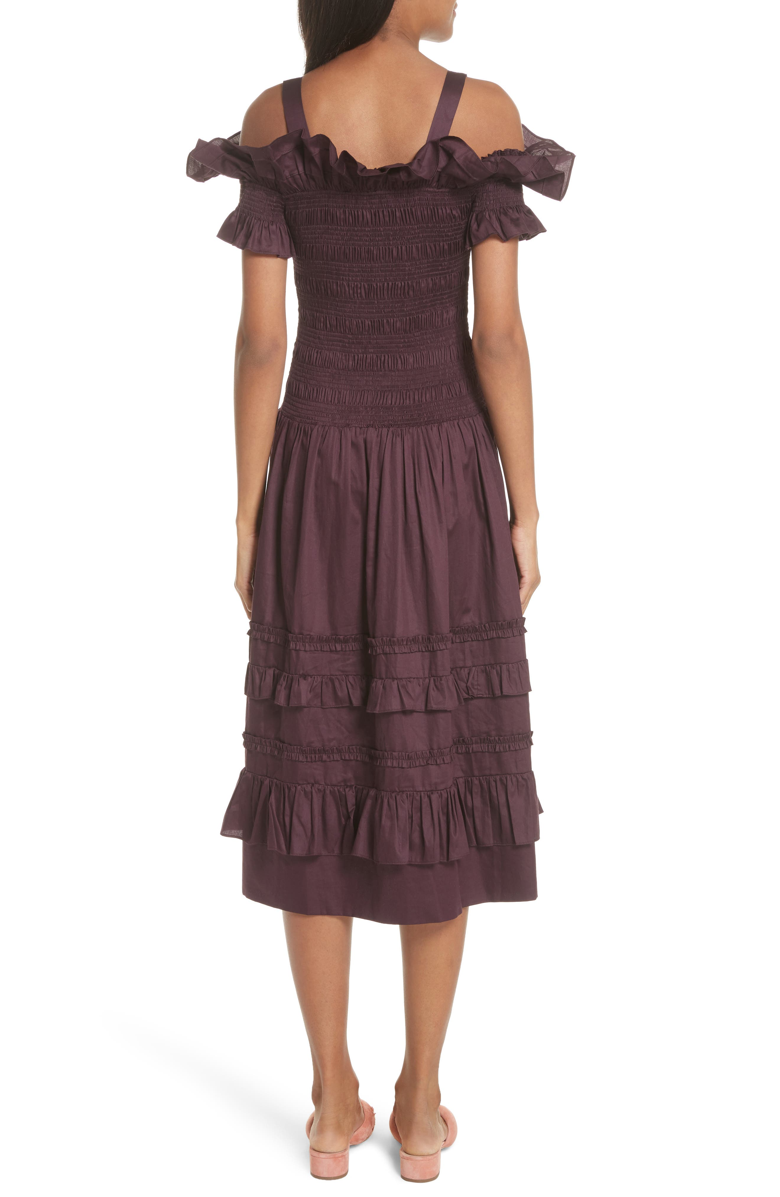 Cold Shoulder Smocked Cotton Dress,                             Alternate thumbnail 2, color,                             PLUM