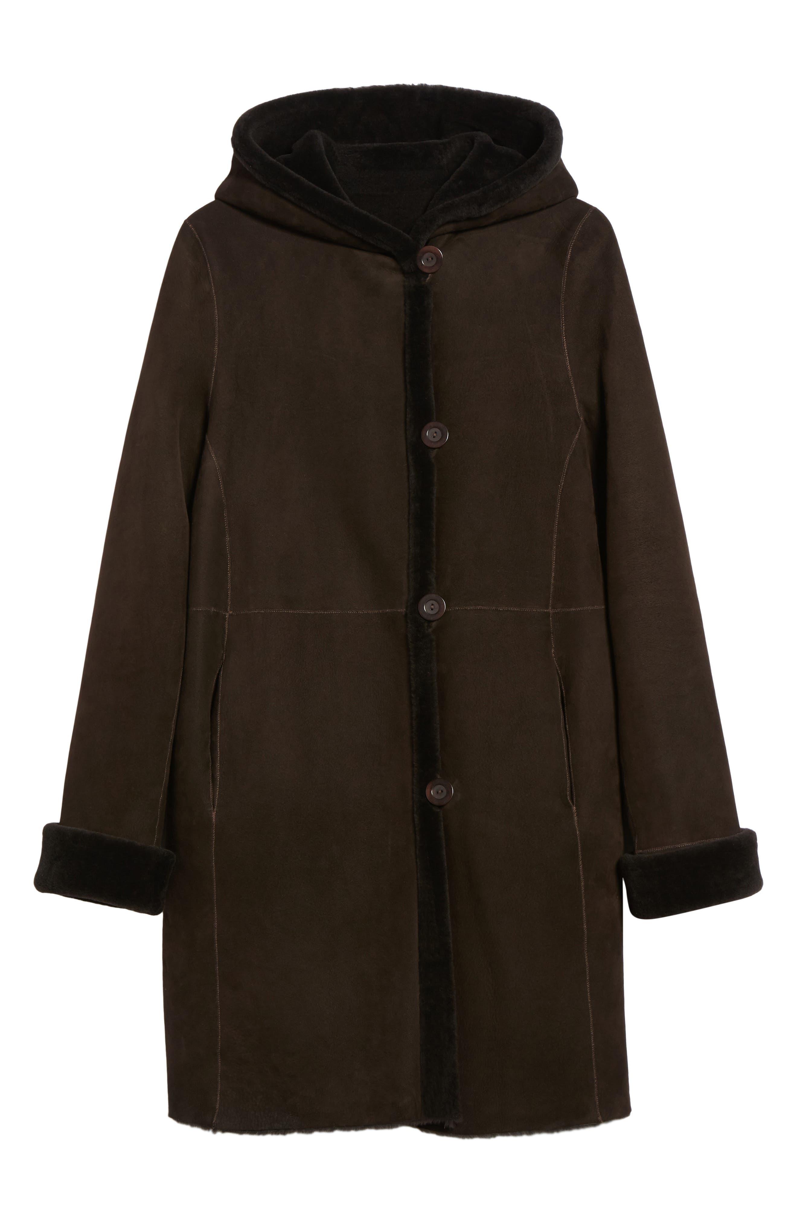 Hooded Genuine Shearling Coat,                             Alternate thumbnail 5, color,