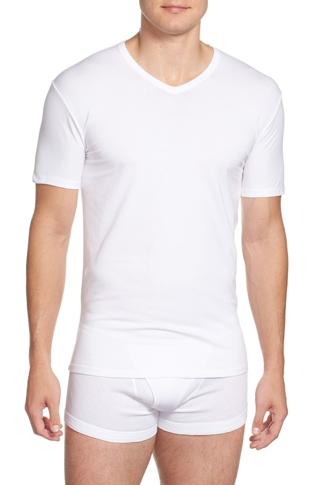 2-Pack Stretch Cotton T-Shirt,                         Main,                         color, WHITE