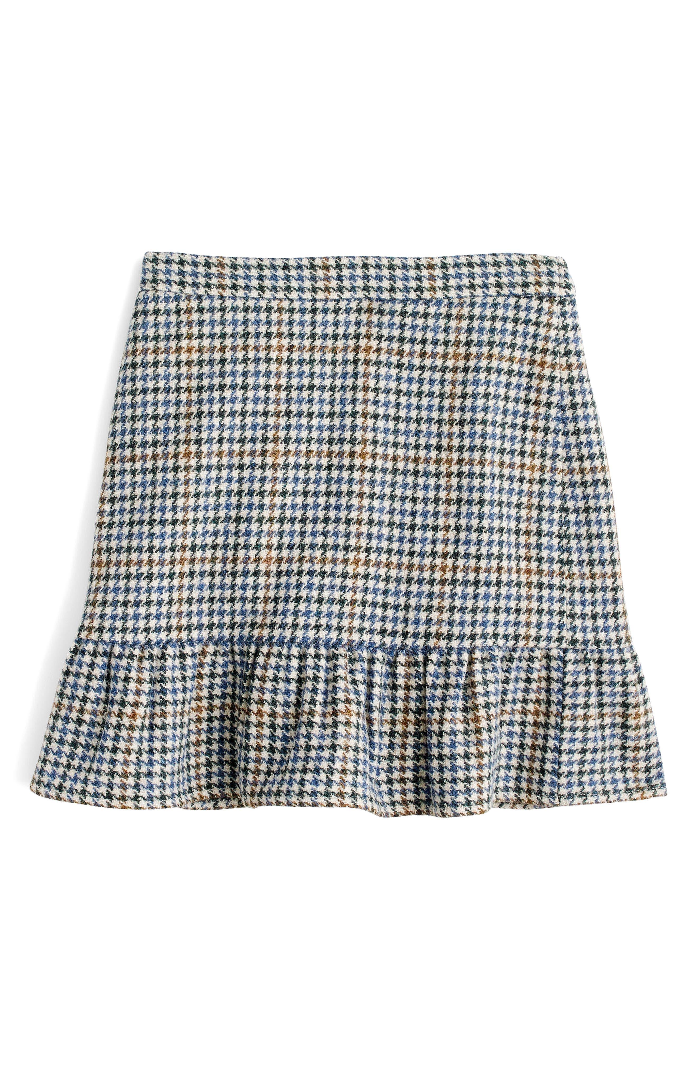 Ruffle Houndstooth Miniskirt,                             Alternate thumbnail 2, color,