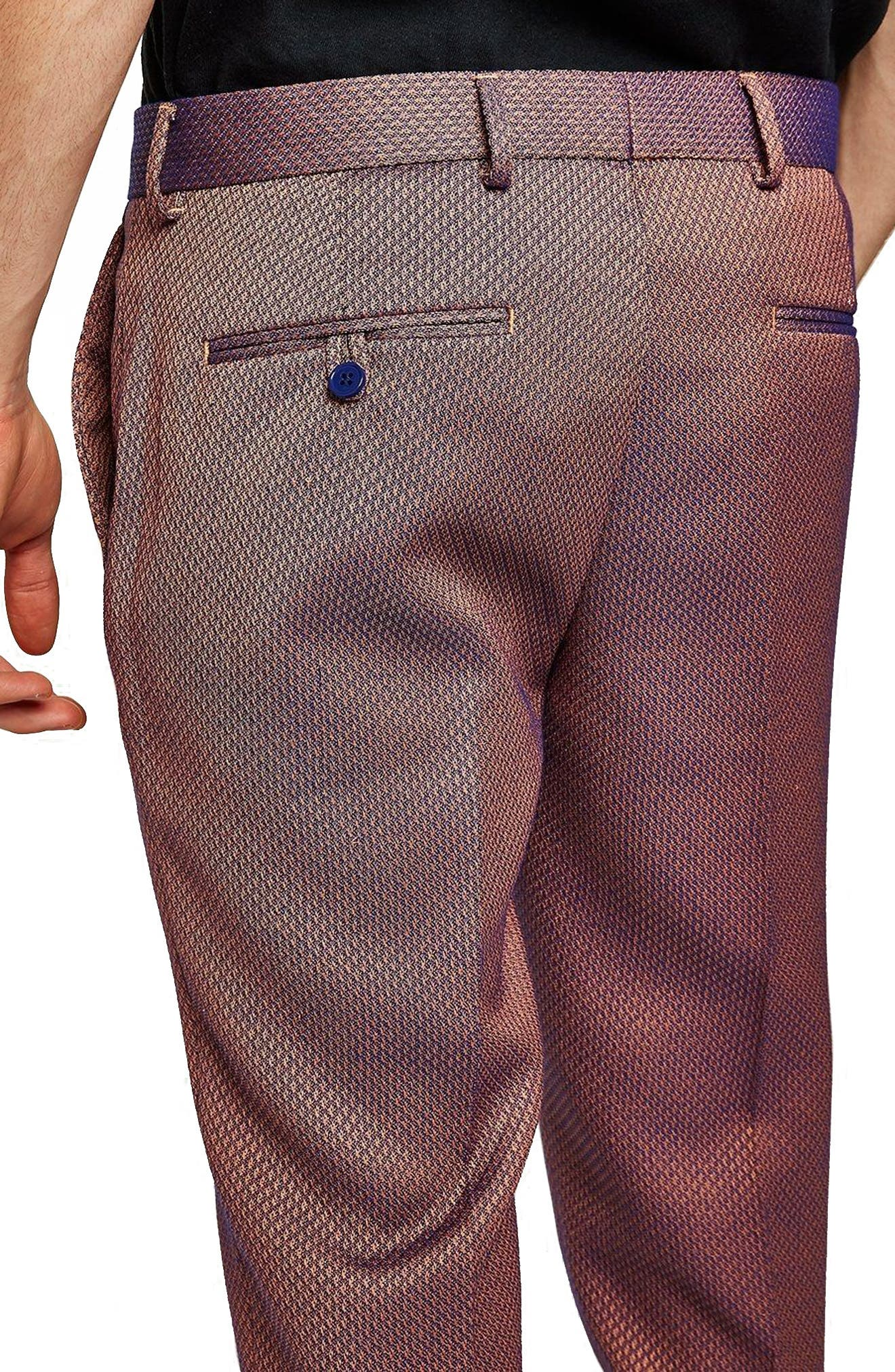 Skinny Fit Jacquard Trousers,                             Alternate thumbnail 2, color,                             RED
