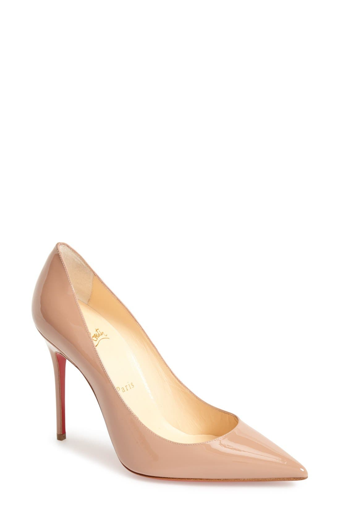 'Decollete' Pointy Toe Pump,                             Main thumbnail 1, color,                             NUDE
