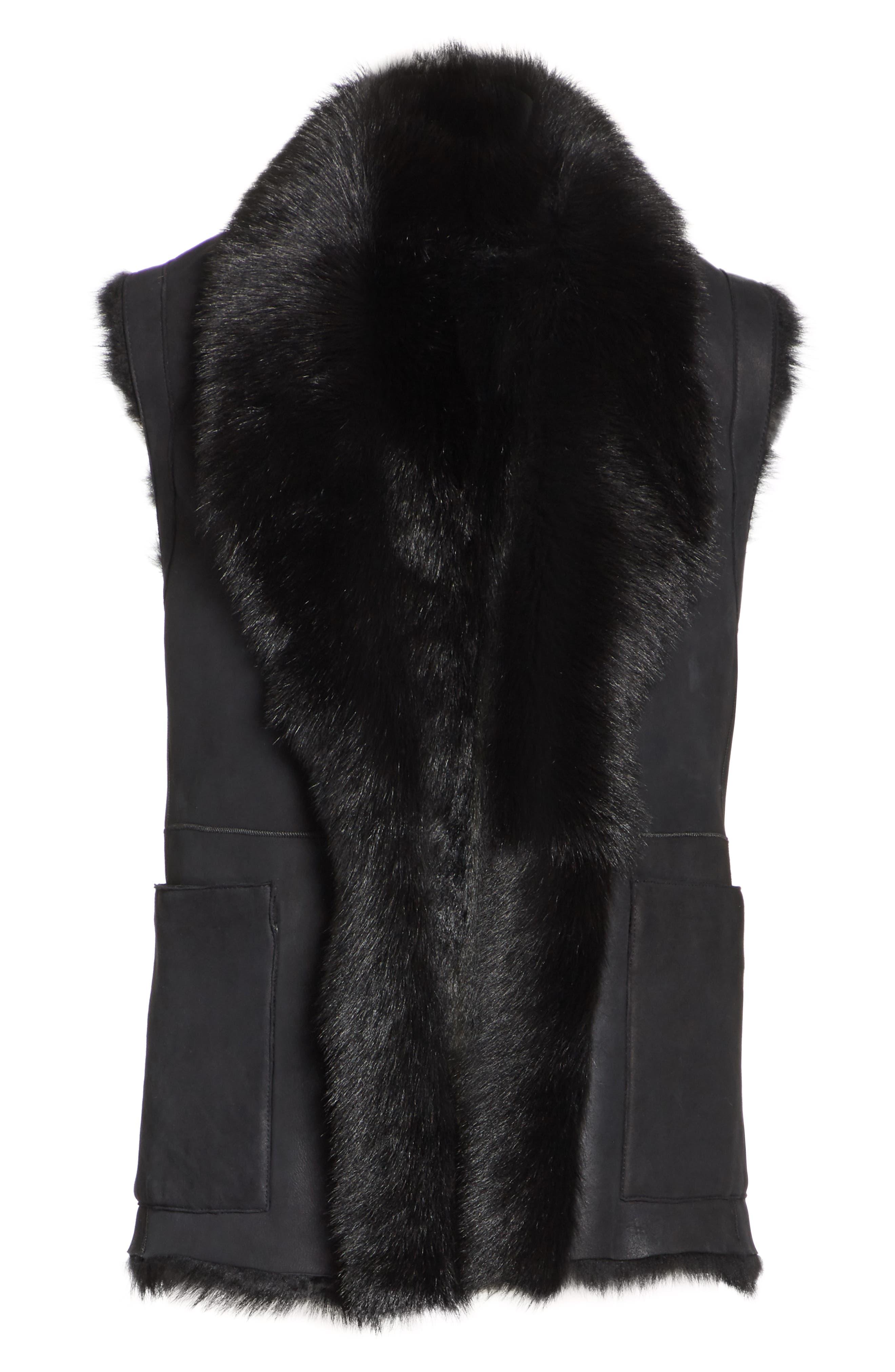 Genuine Toscana Shearling Vest,                             Alternate thumbnail 5, color,                             BLACK
