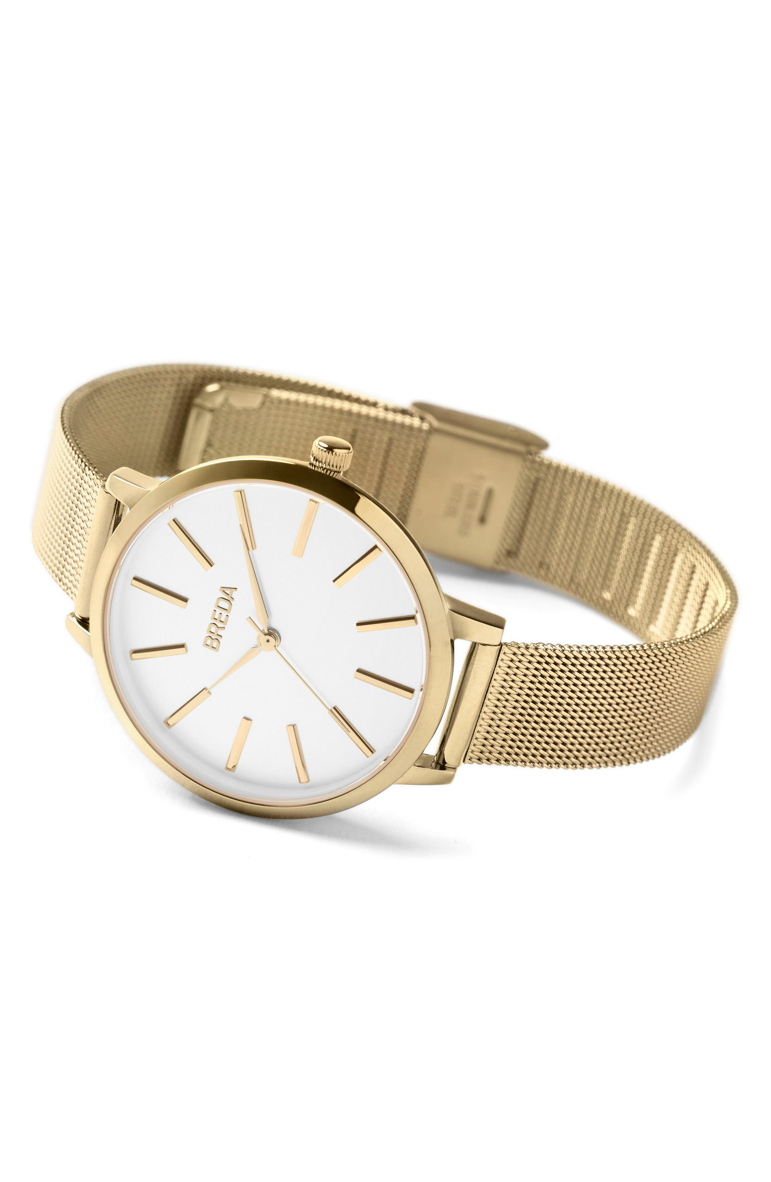 Joule Mesh Strap Watch, 37mm,                             Alternate thumbnail 3, color,                             GOLD