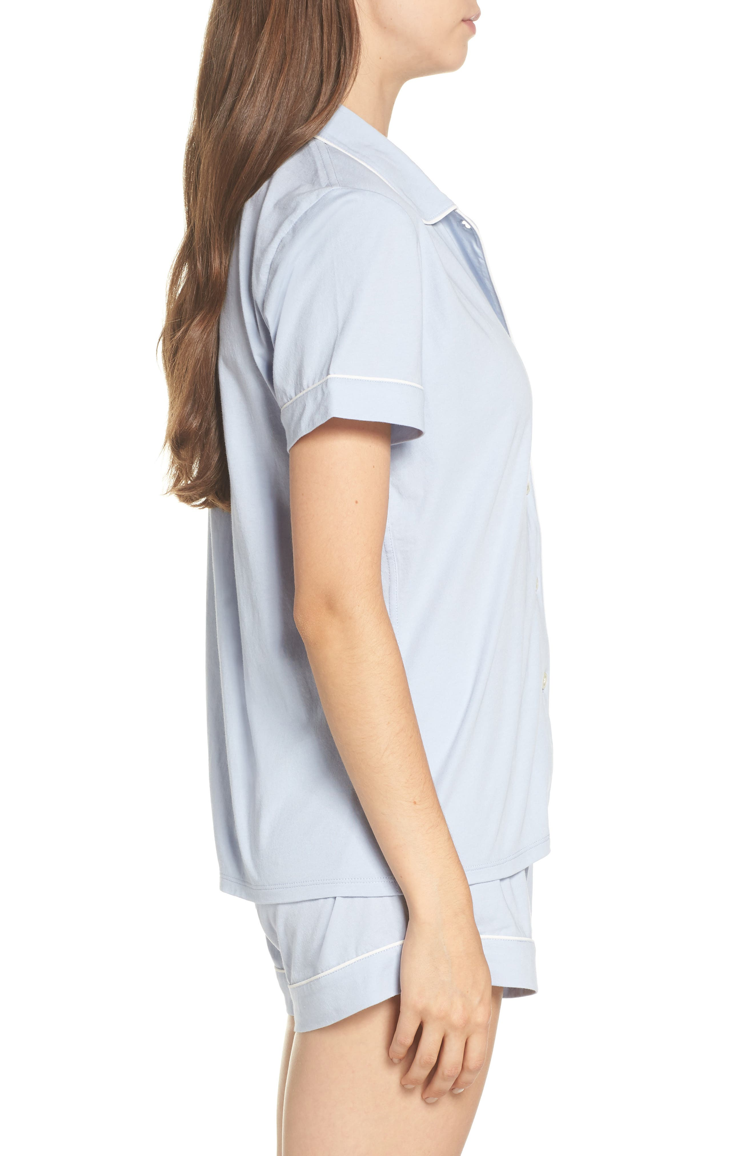 Short Sleeve Knit Pajamas,                             Alternate thumbnail 3, color,                             PERI SHADOW