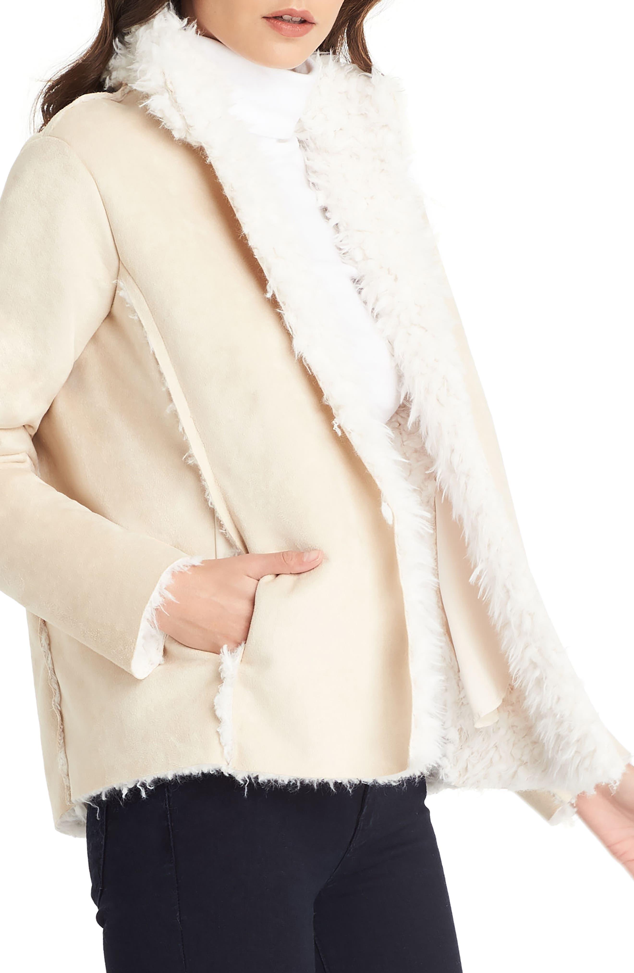 Reversible Faux Fur Coat,                             Alternate thumbnail 4, color,