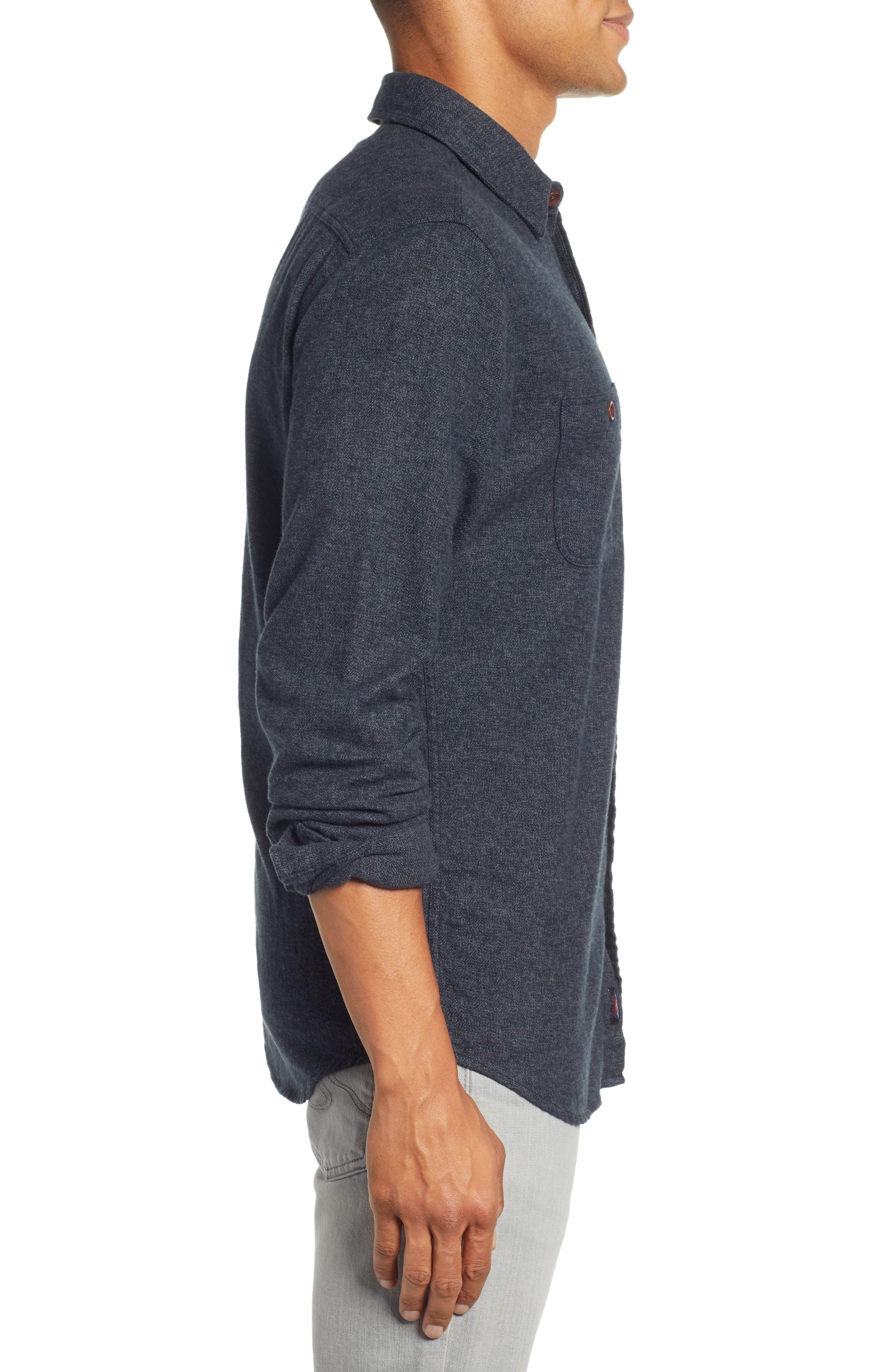 Seasons Organic Cotton Flannel Sport Shirt,                             Alternate thumbnail 4, color,                             WASHED BLACK