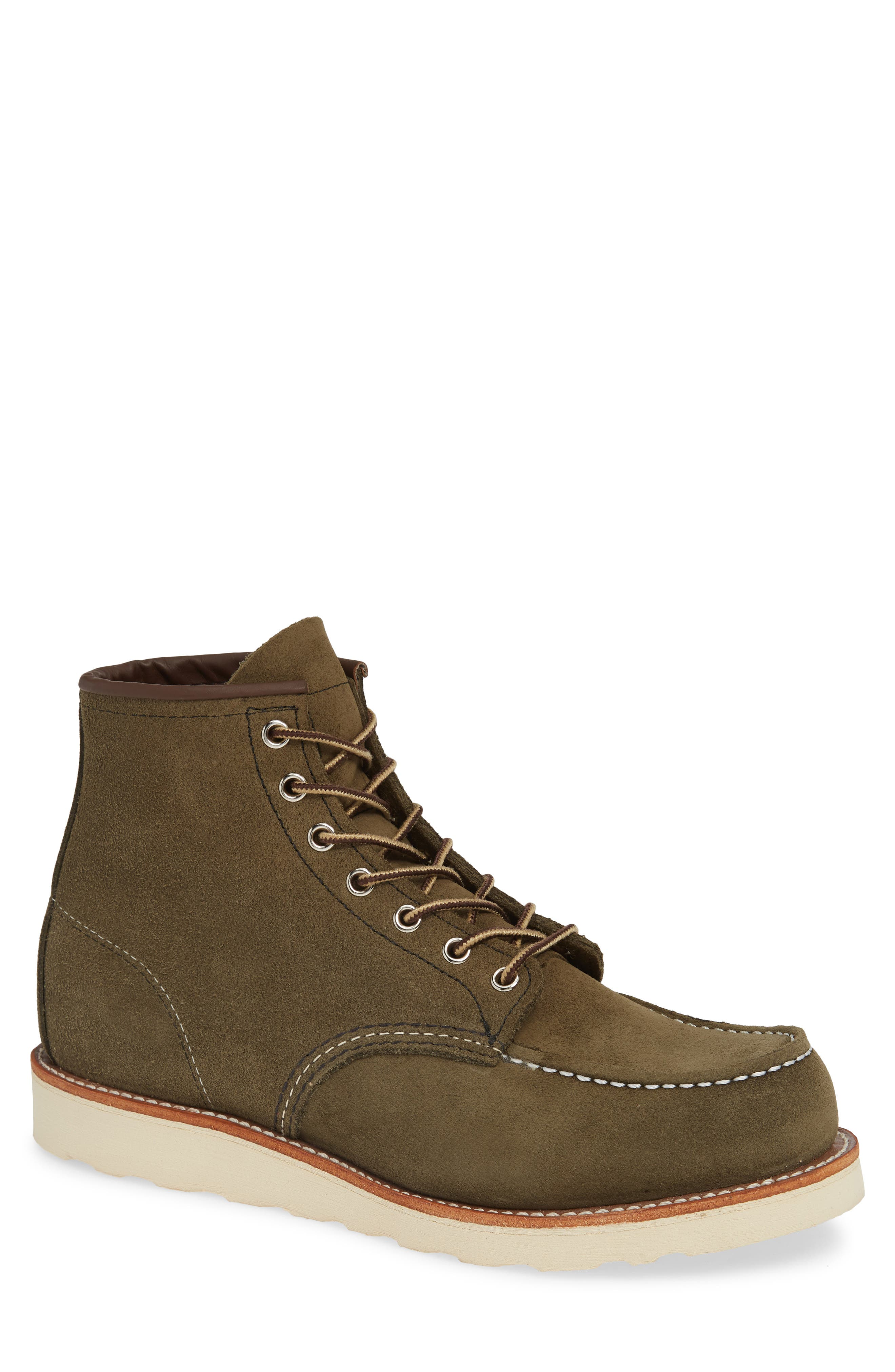 RED WING 6 Inch Moc Toe Boot, Main, color, LODEN ABILENE LEATHER