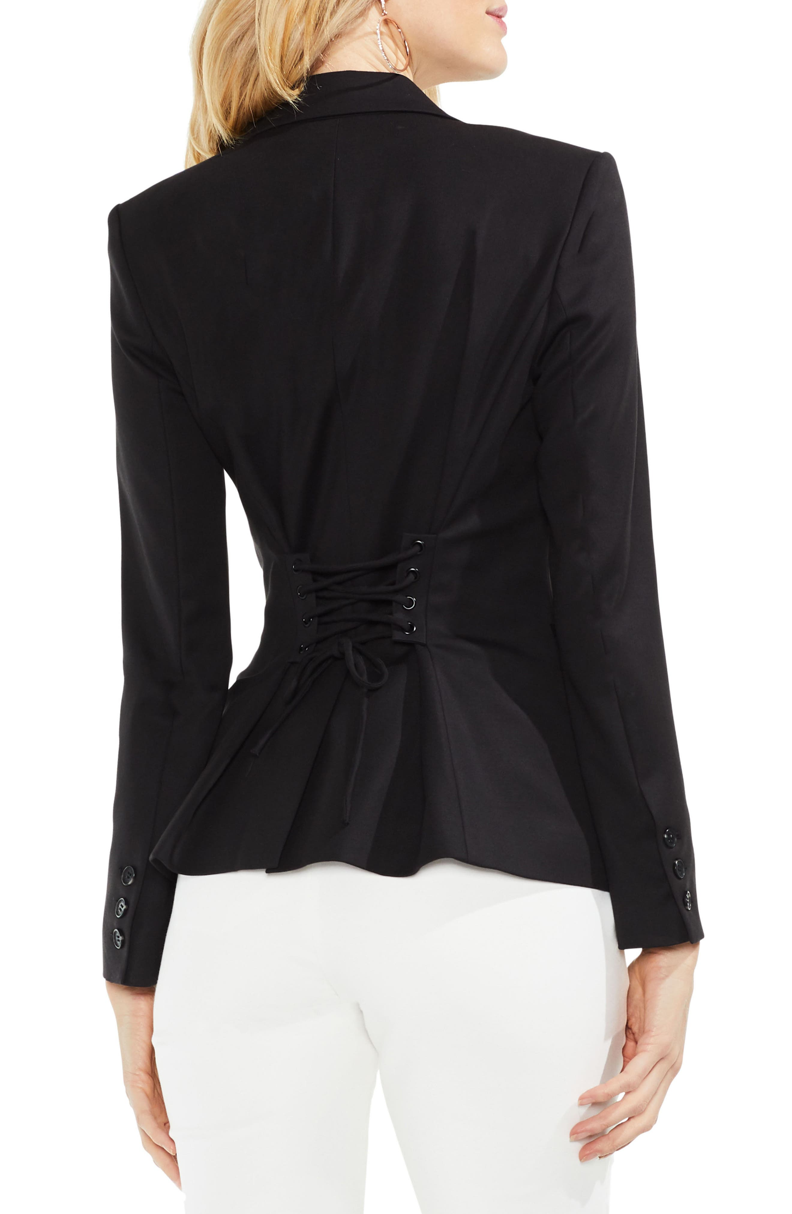 Lace-Up Back Double Weave Blazer,                             Alternate thumbnail 2, color,                             RICH BLACK