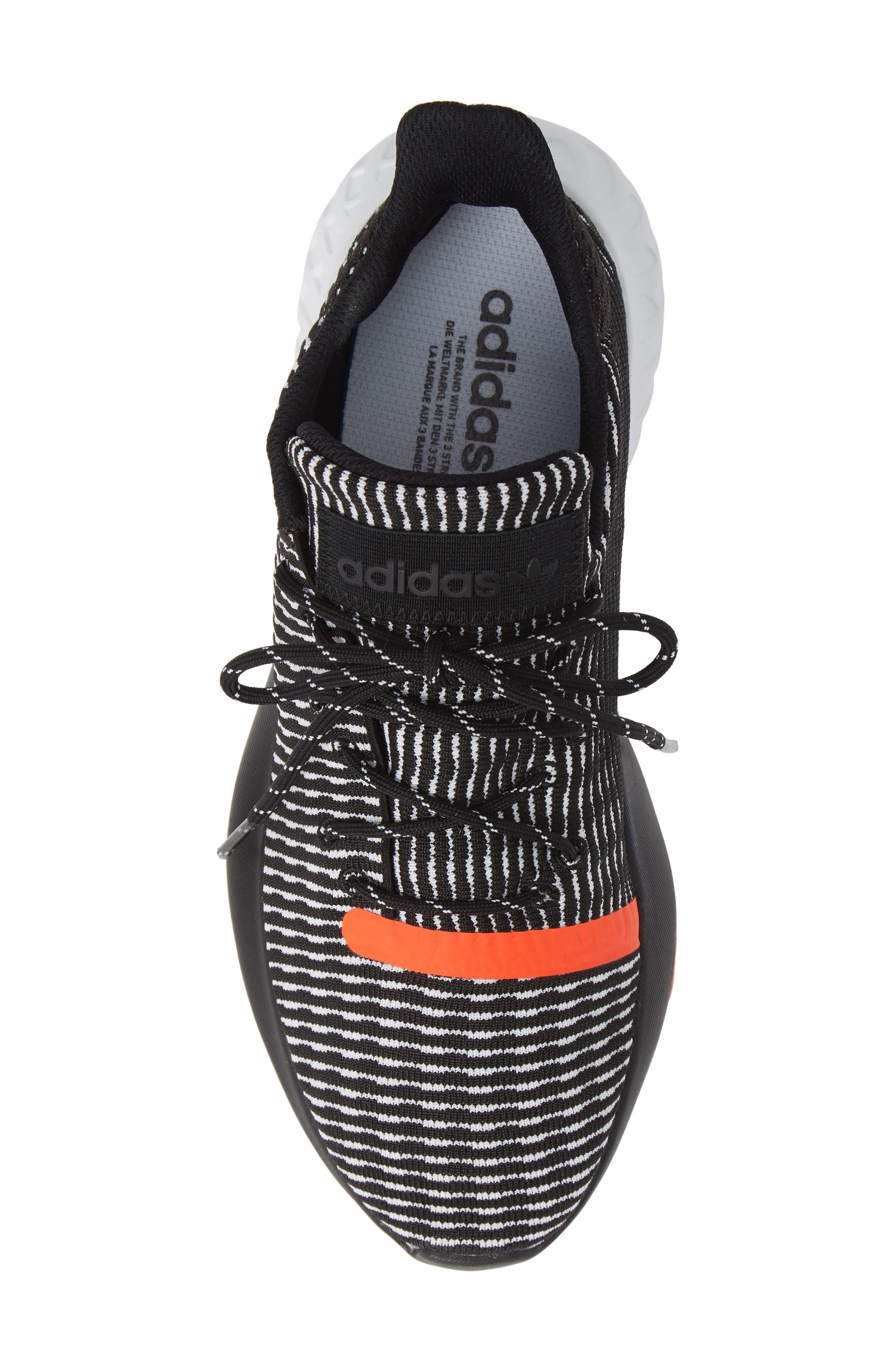 Tubular Dusk Primeknit Sneaker,                             Alternate thumbnail 5, color,                             BLACK/ WHITE/ SOLAR RED