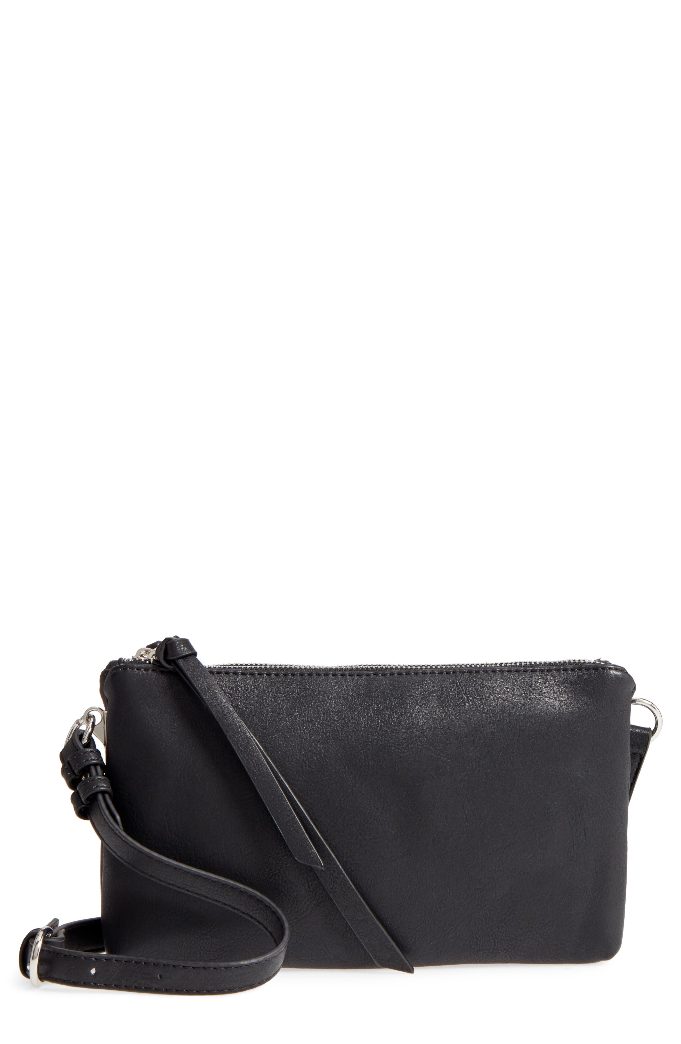 Kia Double Zip Faux Leather Crossbody Bag,                         Main,                         color, 001