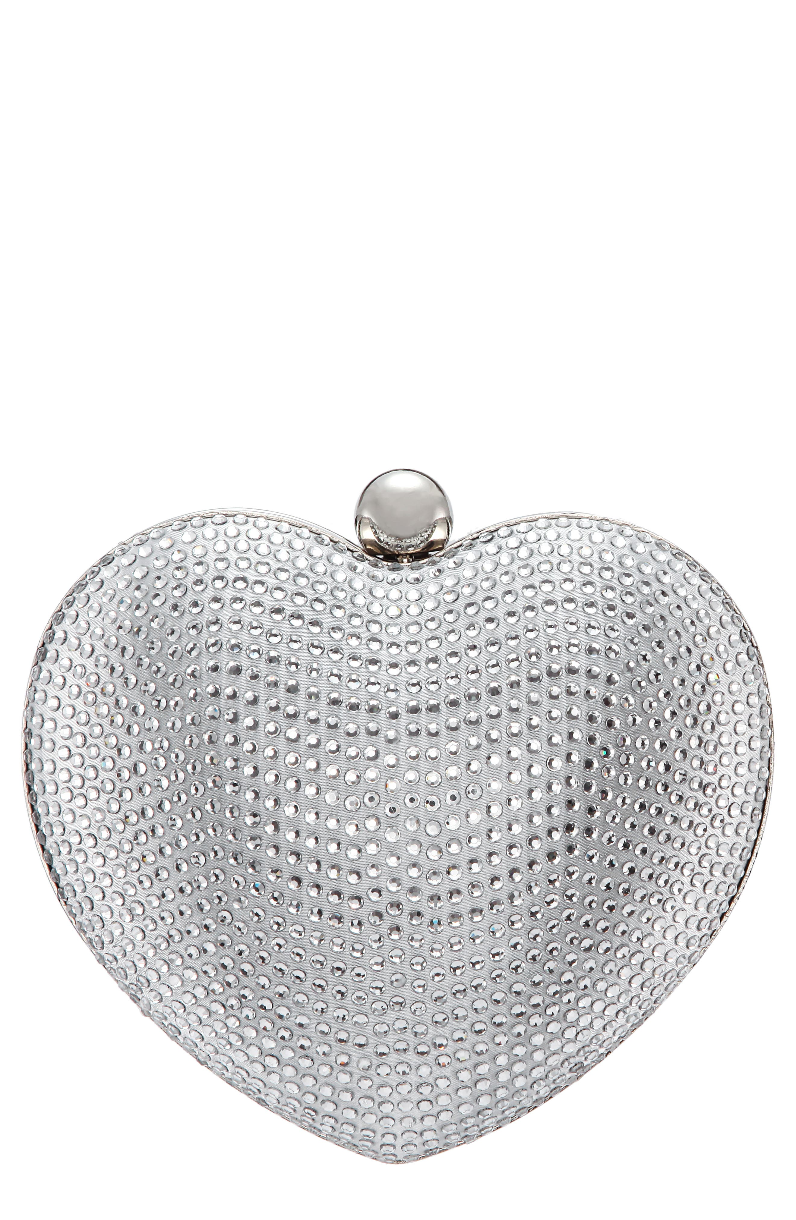 Crystal Embellished Minaudiere - Metallic in Silver