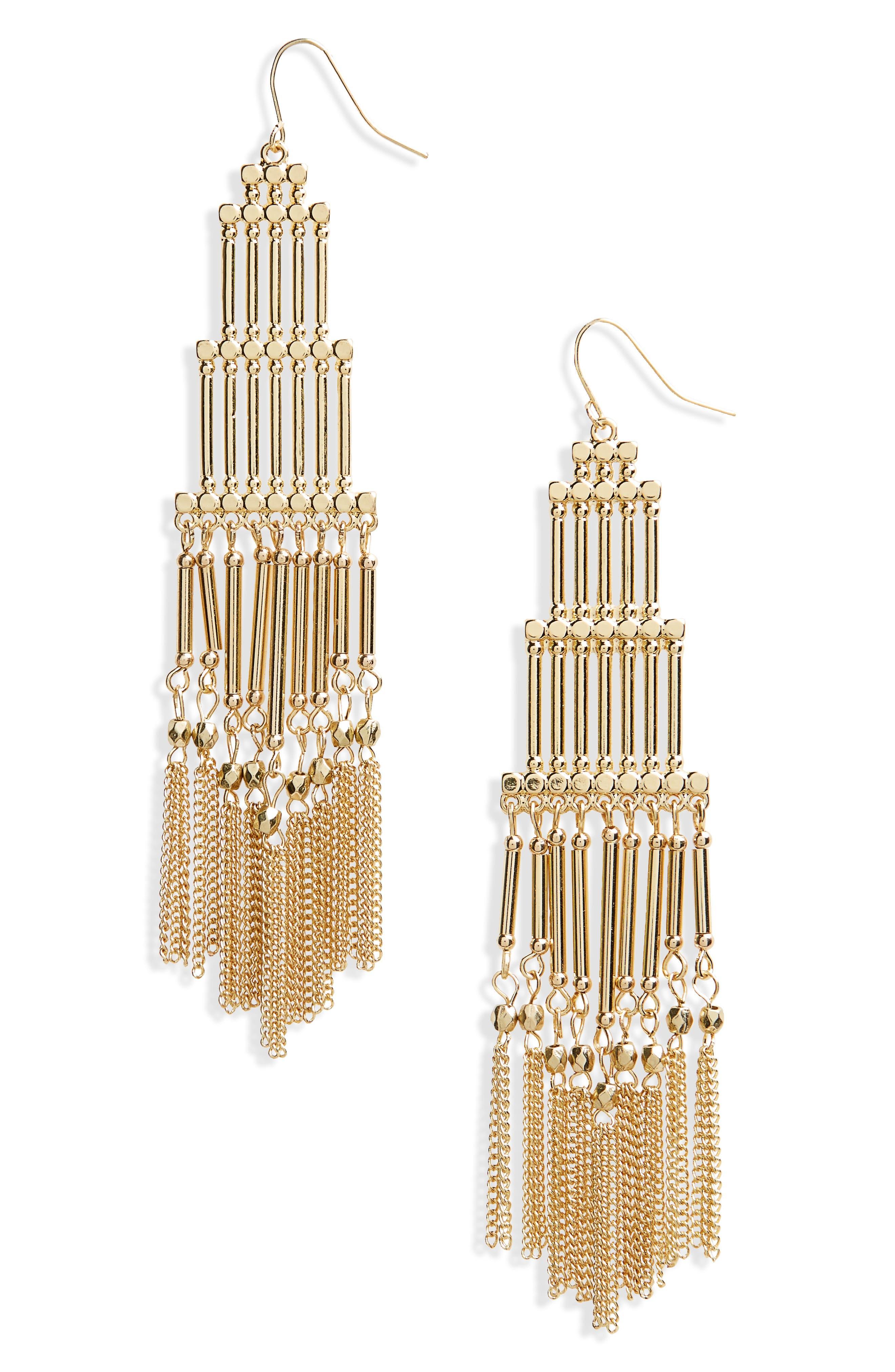 Boho Beaded Fringe Earrings,                             Main thumbnail 1, color,                             710