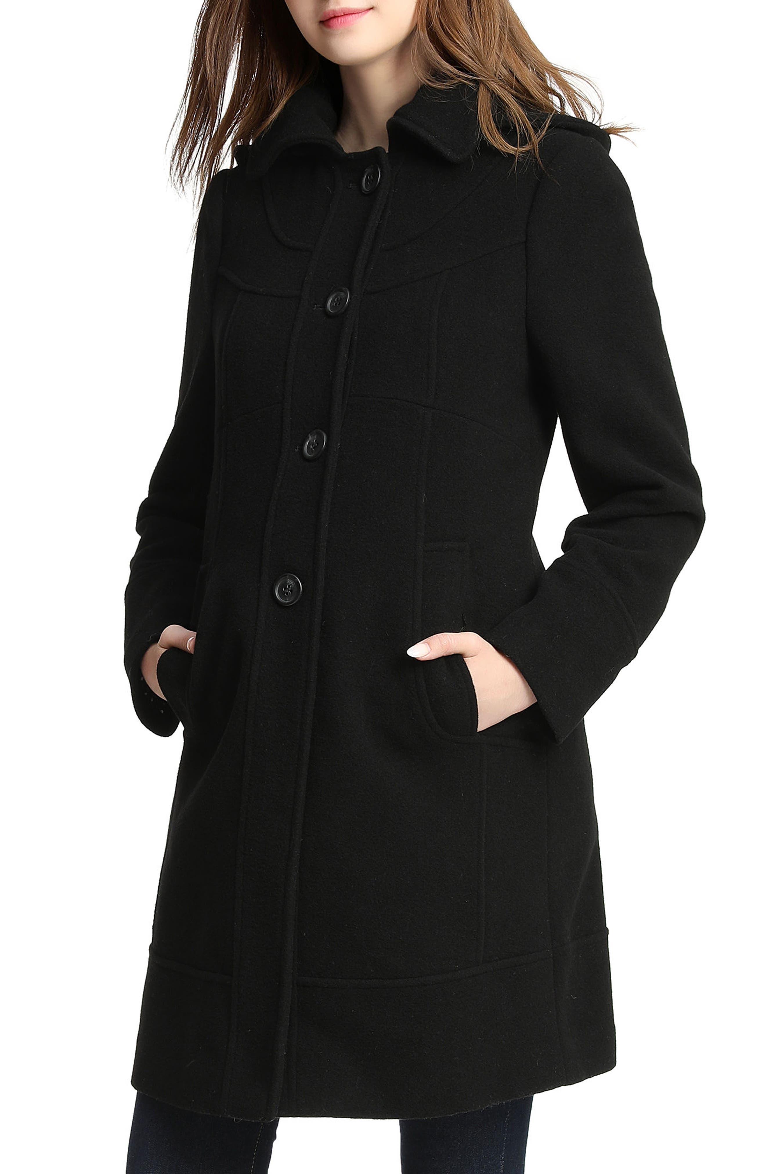Wool Blend Maternity Coat,                             Main thumbnail 1, color,                             BLACK