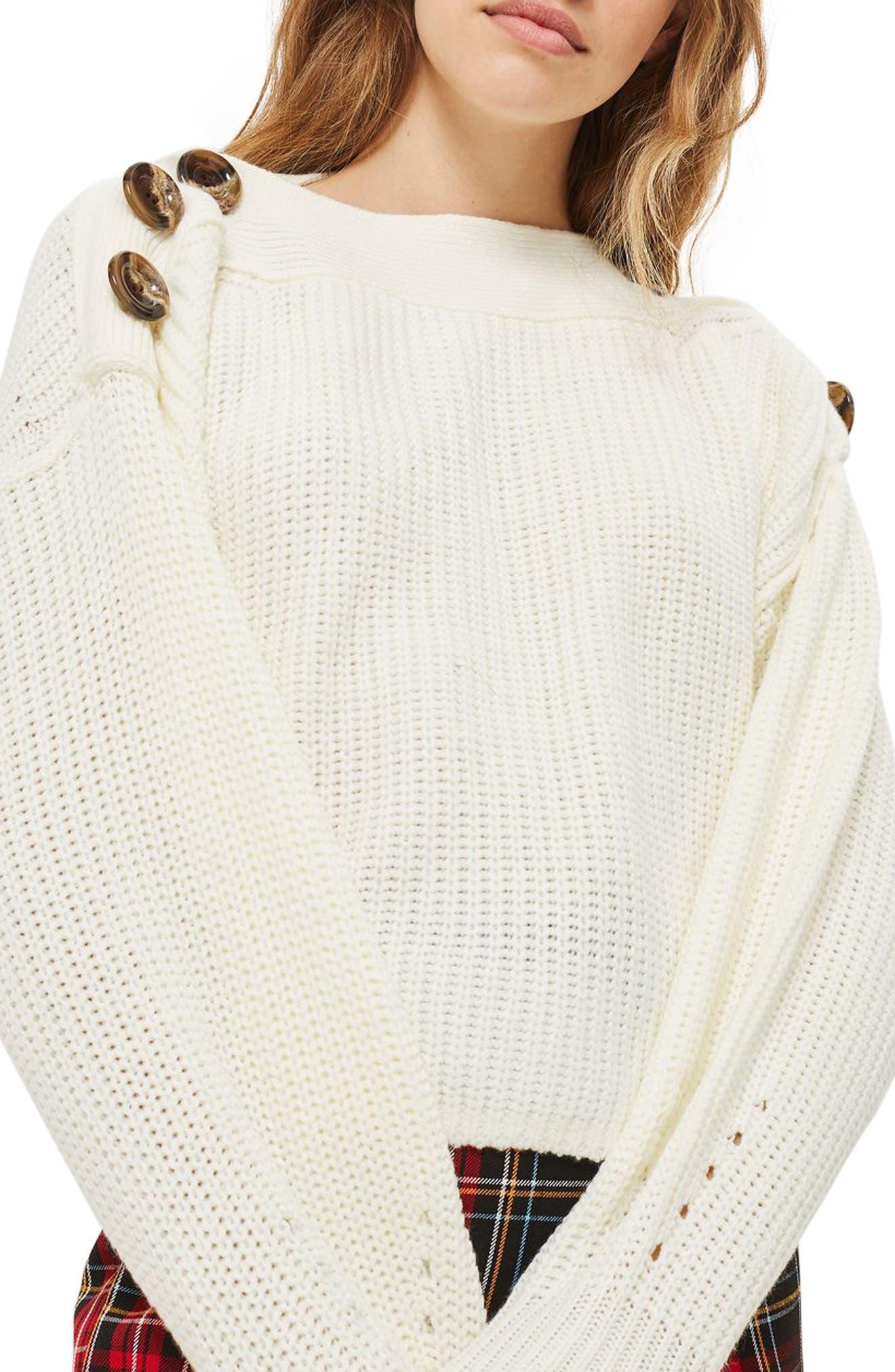Button Slash Knit Sweater,                         Main,                         color,