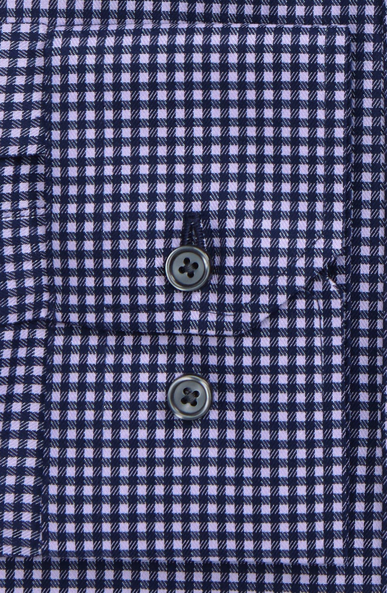 Trim Fit Stretch Check Dress Shirt,                             Alternate thumbnail 2, color,                             420