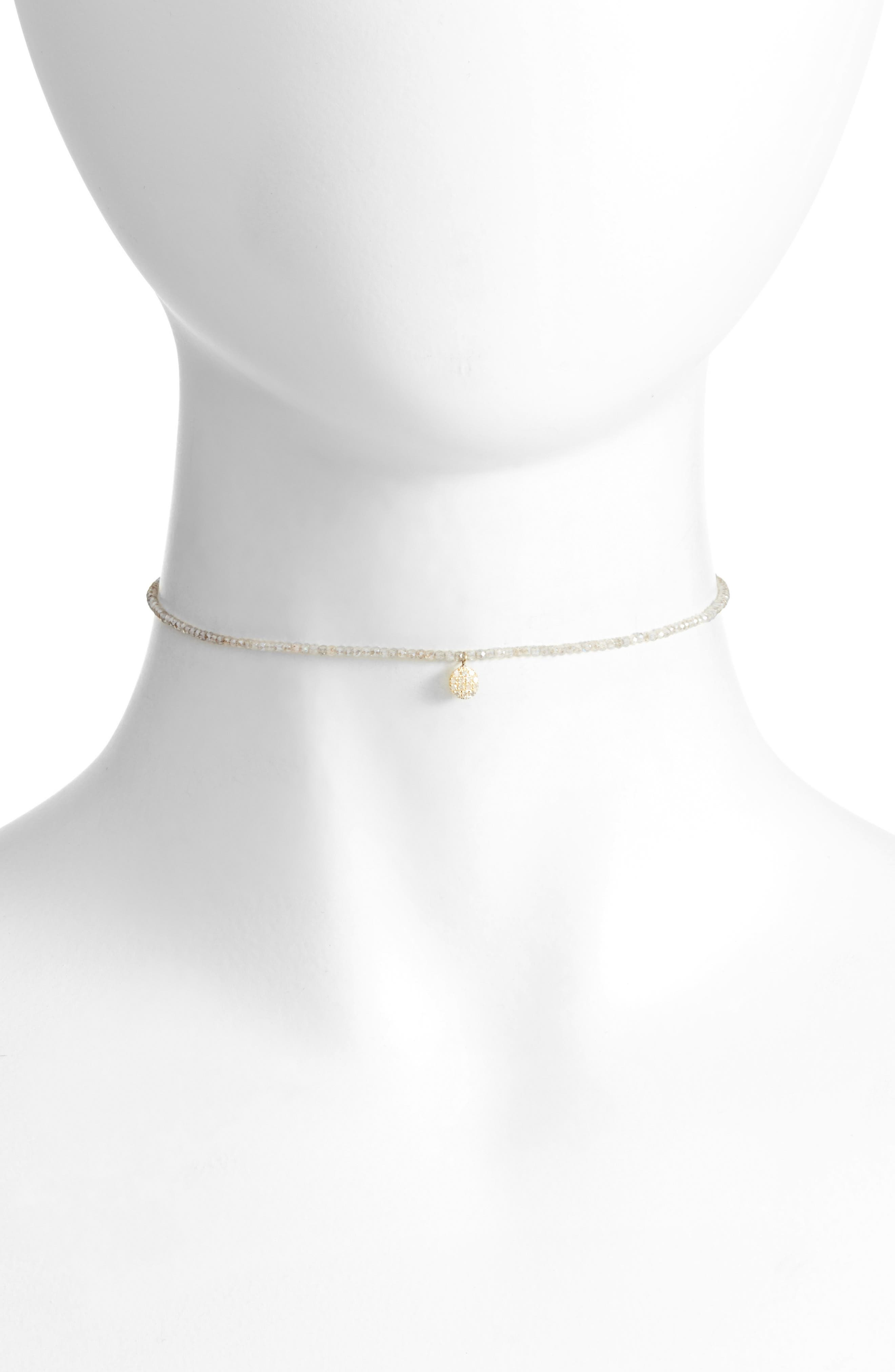 Diamond Charm Choker Necklace,                             Main thumbnail 1, color,                             YELLOW GOLD