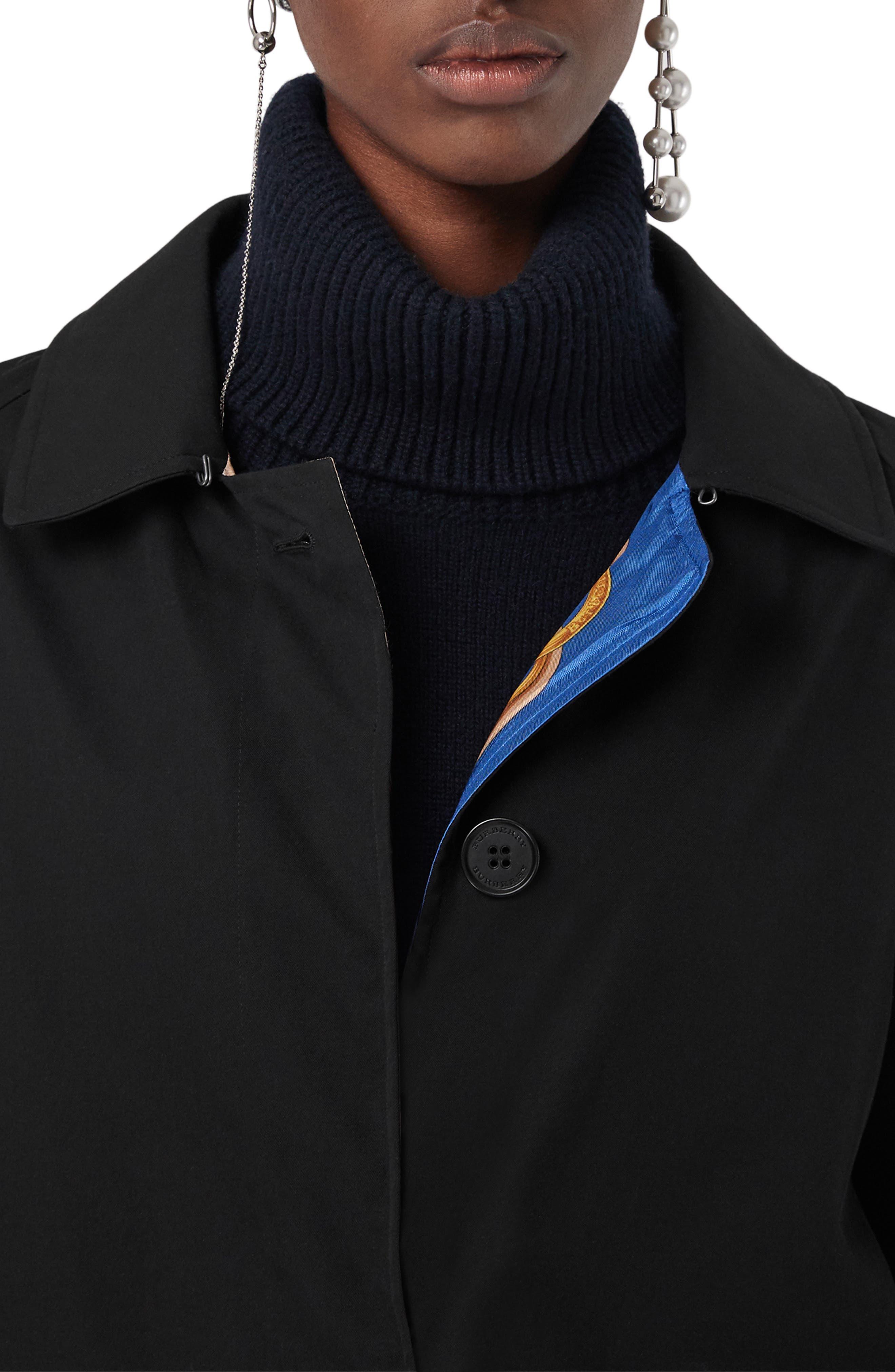 Camden Cotton Car Coat,                             Alternate thumbnail 7, color,                             BLACK