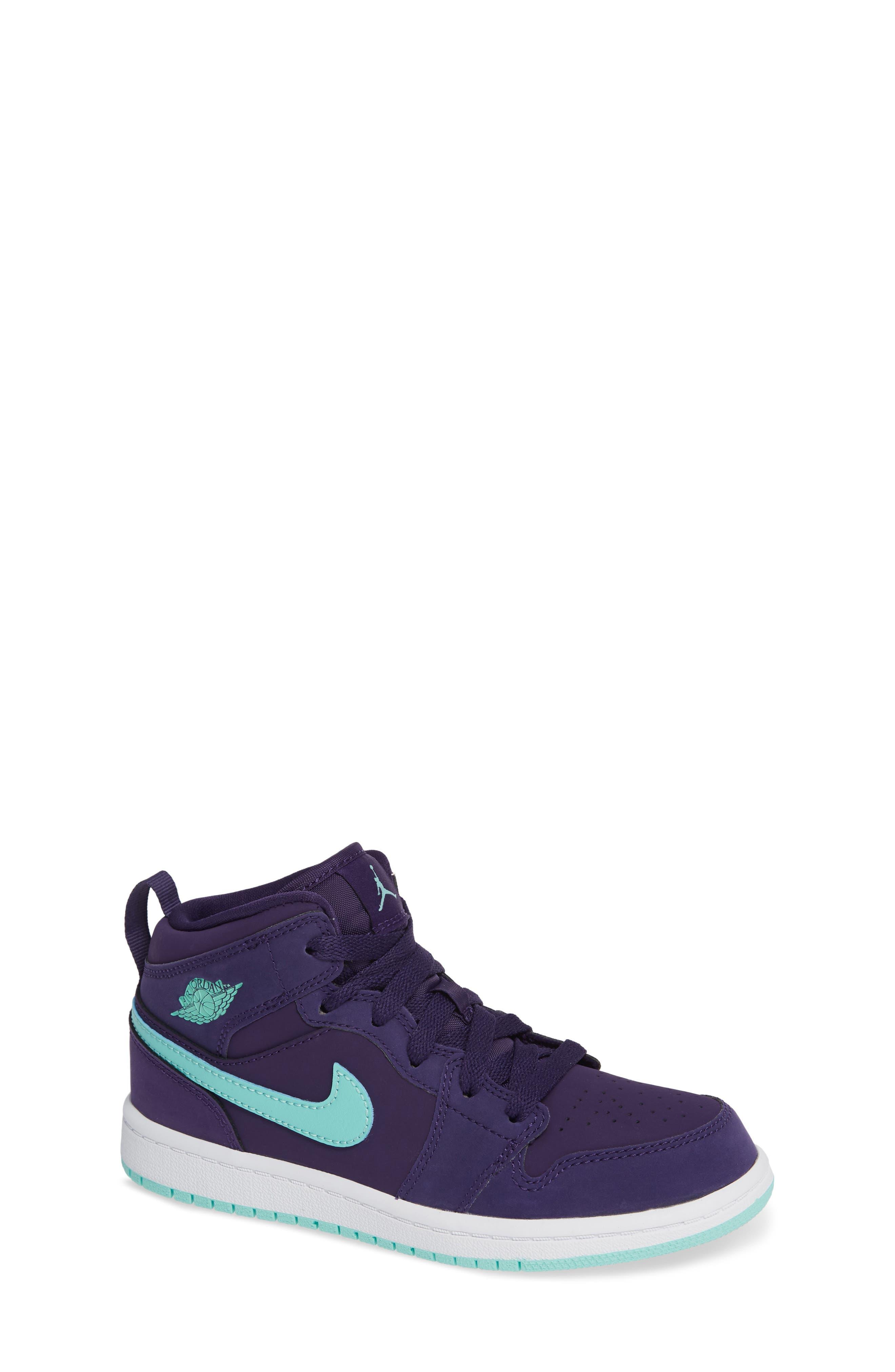 Nike 'Jordan 1 Mid' Basketball Shoe,                             Main thumbnail 1, color,                             INK/ EMERALD RISE/ WHITE
