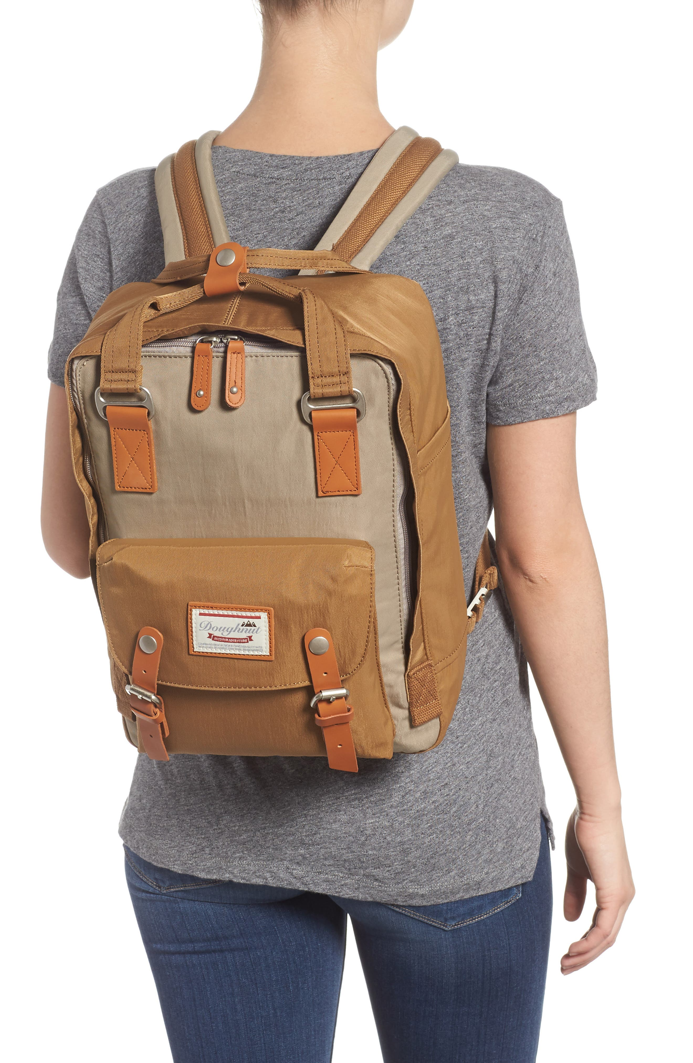 Macaroon Colorblock Backpack,                             Alternate thumbnail 2, color,                             BEIGE/ KHAKI
