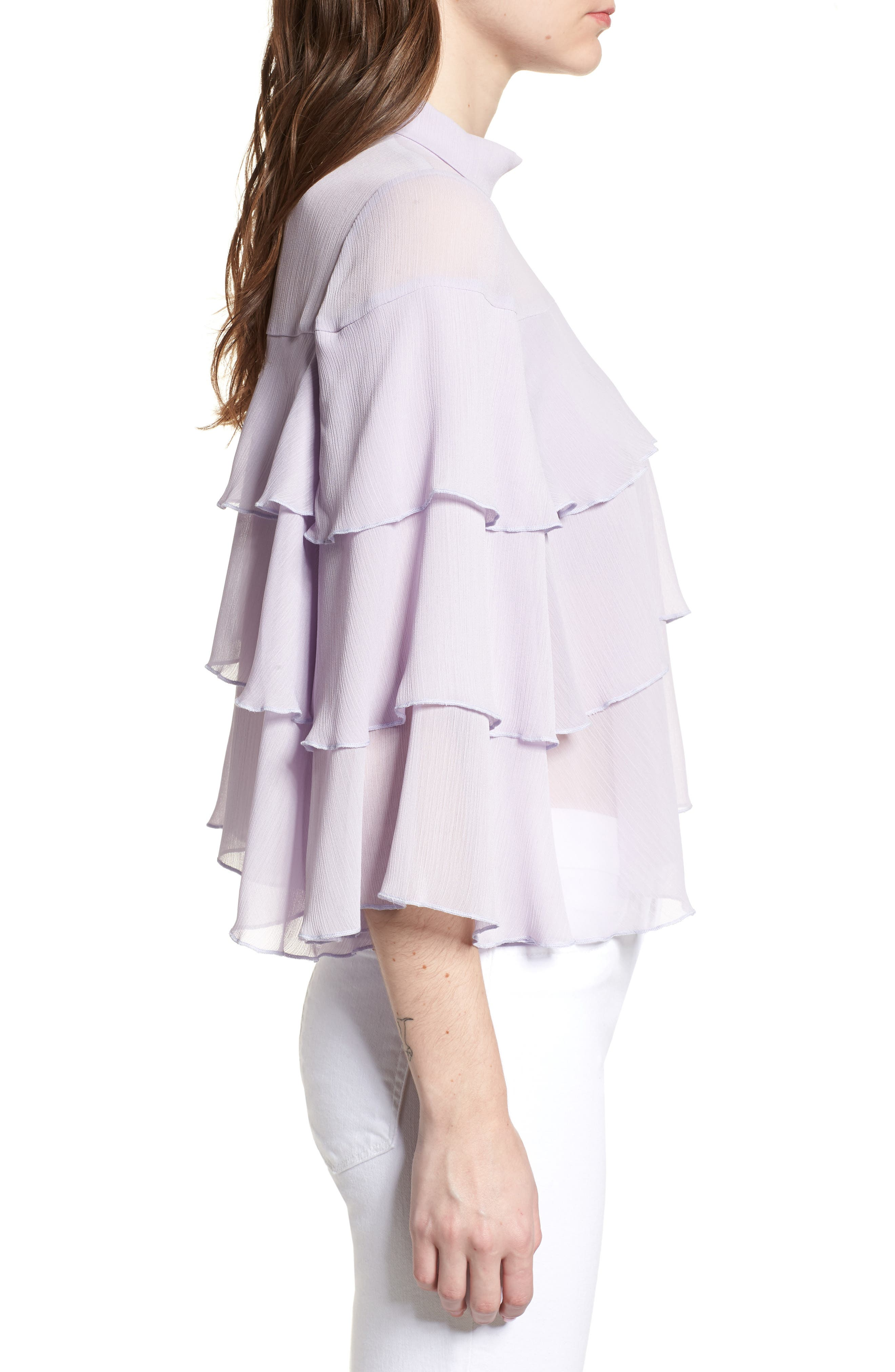 Bishop + Young Tiered Ruffle Blouse,                             Alternate thumbnail 3, color,                             LILAC