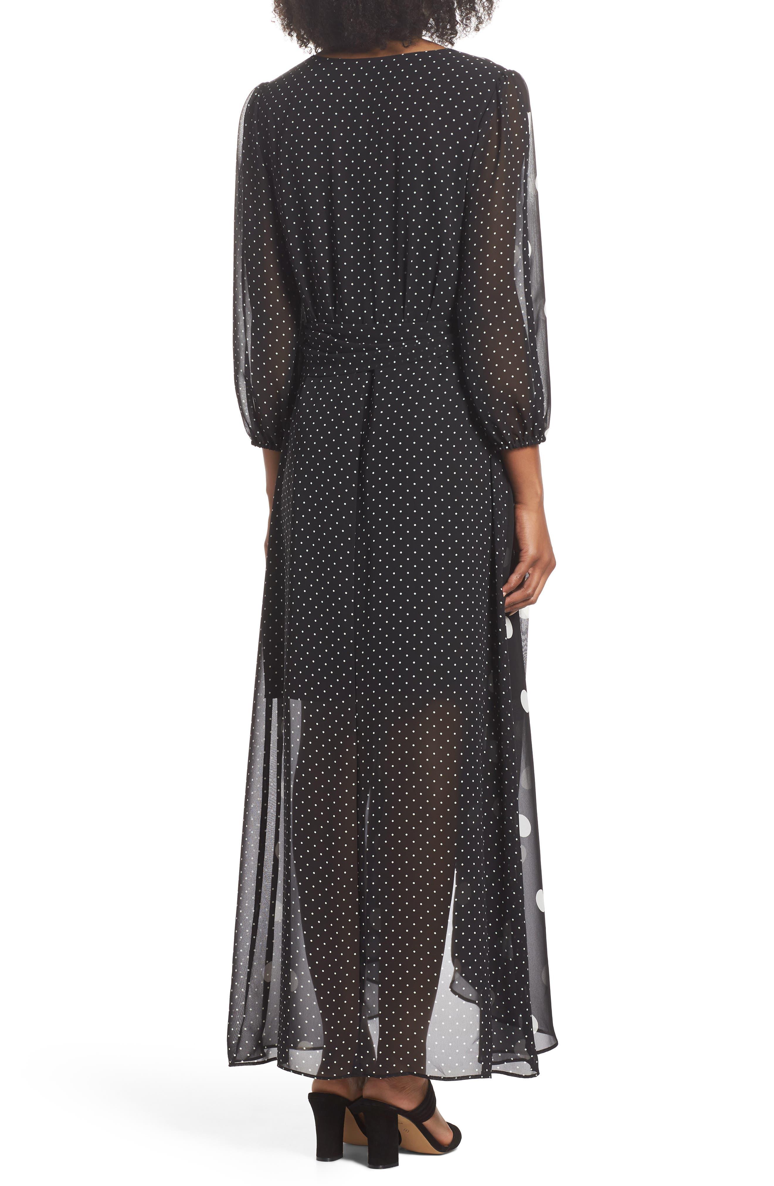 Polka Dot Chiffon Maxi Dress,                             Alternate thumbnail 2, color,                             012