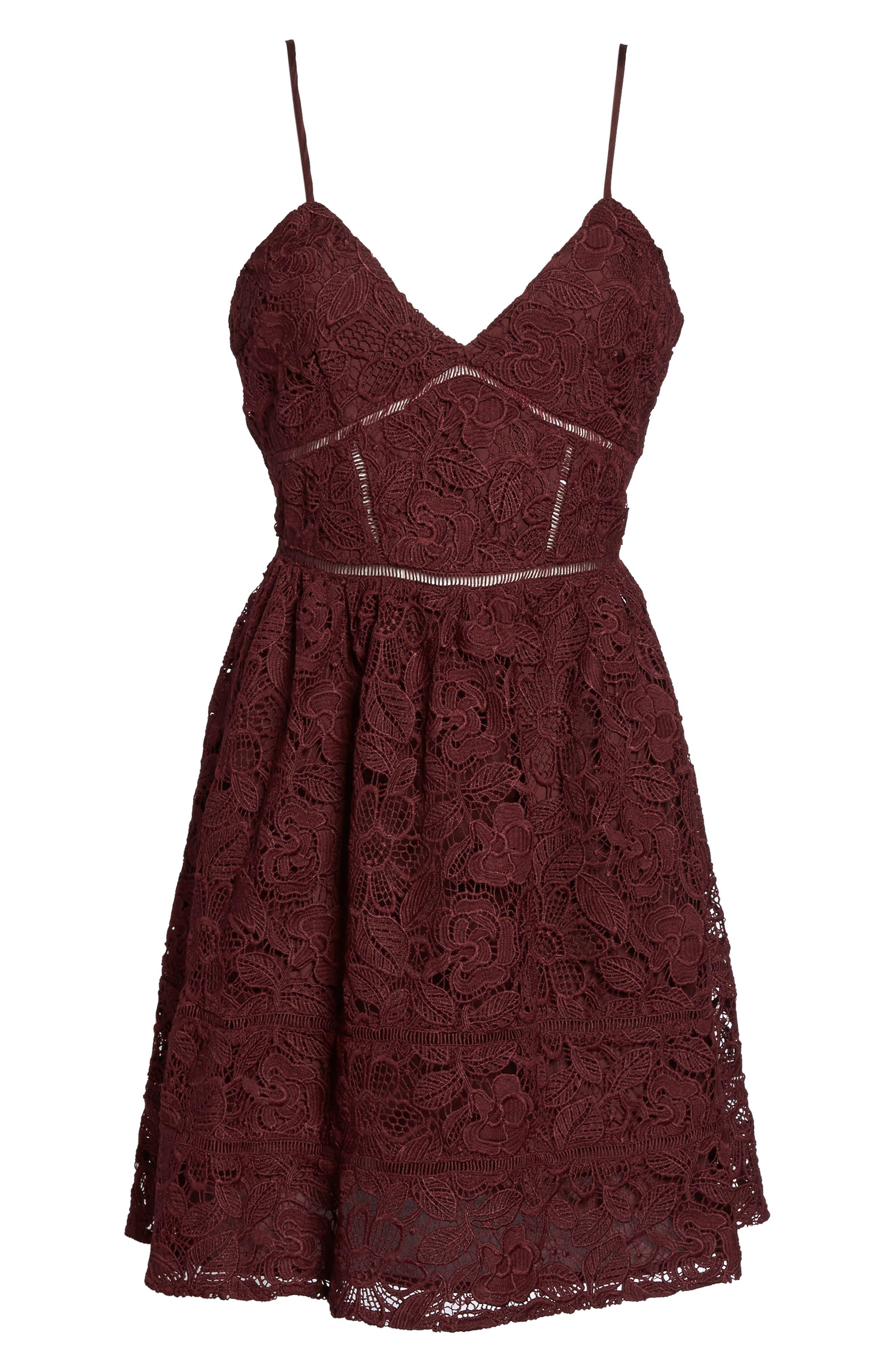 Sutton Lace Fit & Flare Dress,                             Alternate thumbnail 6, color,                             930