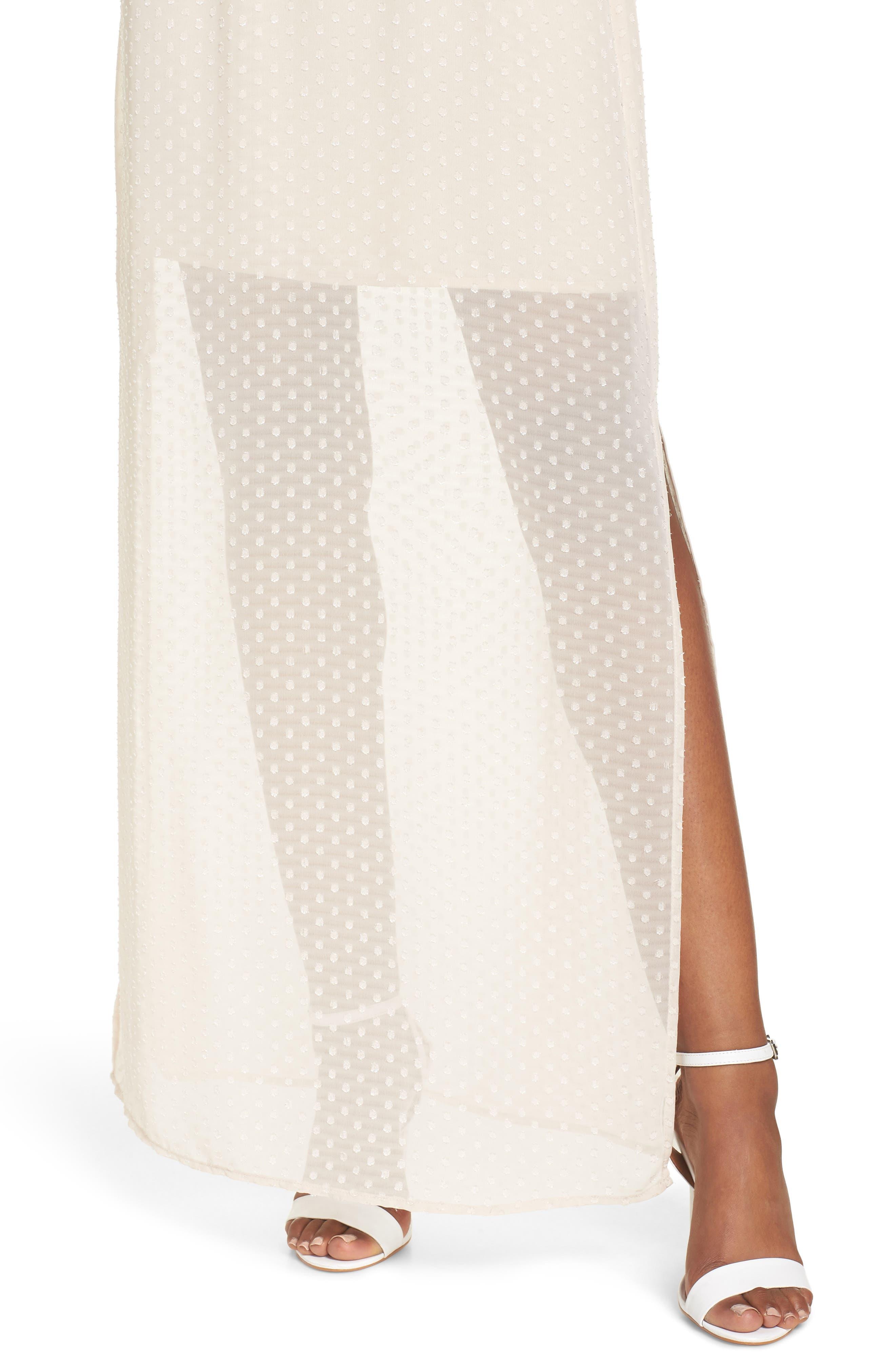 Tie Sleeve Cold Shoulder Maxi Dress,                             Alternate thumbnail 4, color,                             901
