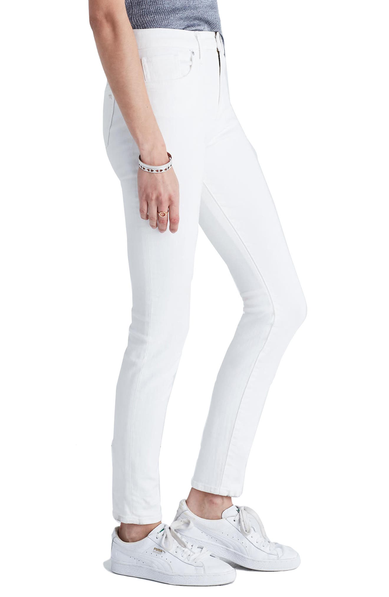MADEWELL,                             9-Inch High-Rise Skinny Jeans,                             Alternate thumbnail 3, color,                             100